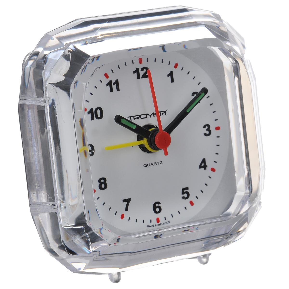Будильник Troyka, цвет: прозрачный. 02.00802.008Будильник Troyka выполнен из стекла и пластика. Он поможет вам просыпаться по утрам и никуда не опаздывать. На задней панели будильника расположены переключатель включения/выключения механизма и два колесика для настройки текущего времени и времени звонка будильника. Будильник работает от 1 батарейки типа AA (не входит в комплект).