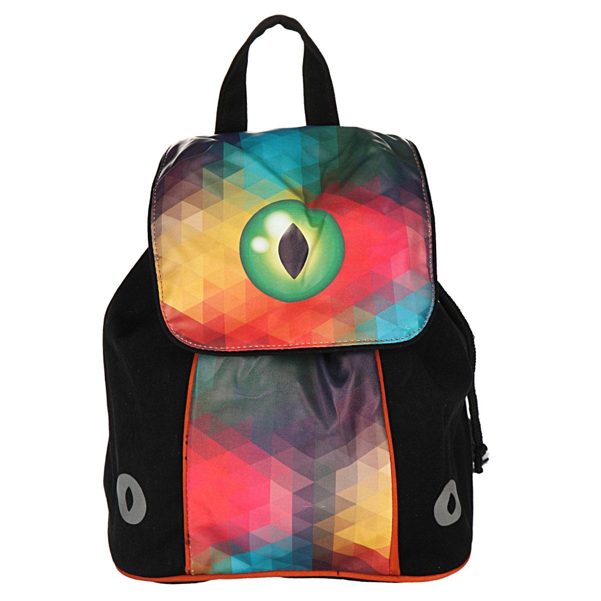 Рюкзак детский Proff Magic Eye, цвет: черный, желтый, красный, зеленый. CI15-BPM-02CI15-BPM-02Рюкзак детский Proff Magic Eye изготовлен из прочного полиэстера, украшен оригинальным рисунком с изображением магического глаза. Изделие имеет одно вместительное отделение, завязывающееся на тесемки, с накидным клапаном сверху, на кнопке. Особенностью рюкзака является второй доступ в основное отделение, расположенный со спины, застегивающийся на молнию. Для комфортной переноски сверху рюкзак оснащен текстильной ручкой. Стильный и удобный рюкзак станет отличным подарком для ребенка!