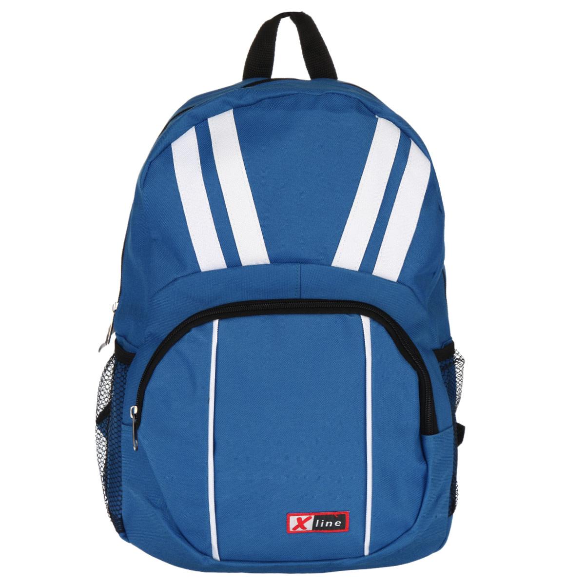 Рюкзак школьный Proff X-line, цвет: голубой, белый. XL14-139-1DXL14-139-1DРюкзак школьный Proff X-line станет отличным помощником в учебе. Он изготовлен из прочного полиэстера голубого цвета с белыми полосами. Рюкзак имеет одно основное отделение, которое закрывается на молнию. Снаружи присутствует накладной карман на молнии, а также два боковых сетчатых кармана.
