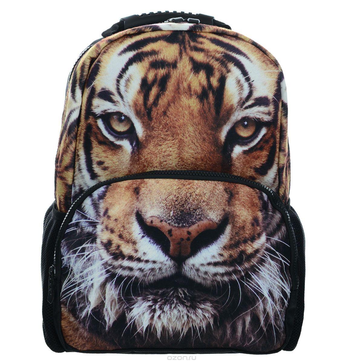 Рюкзак школьный Trend Line Tigers, цвет: черныйNR_00038Стильный школьный рюкзак Trend Line выполнен из полиэстера, дополнен вставкой из флиса, которая оформлена художественной печатью с изображением Tigers. Рюкзак имеет одно основное отделение, закрывающееся на застежку-молнию. Снаружи, на лицевой стороне, рюкзака размещен накладной карман на молнии, внутри которого предусмотрен еще один накладной карман на липучке. С двух сторон изделия расположены два накладных сетчатых кармашка. В верхней части изделия предусмотрена эргономичная ручка для переноски, а также предусмотрены регулируемые лямки. Такой рюкзак станет незаменимым спутником вашего ребенка в походах за знаниями.