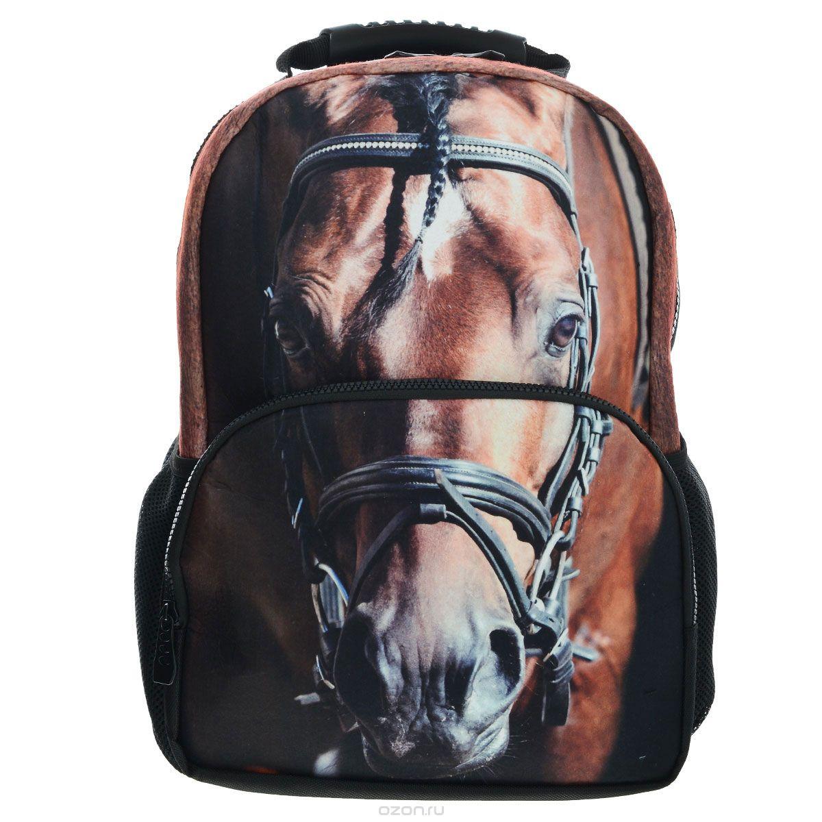 Рюкзак школьный Trend Line Horse, цвет: черный. NR_00058NR_00058Стильный школьный рюкзак Trend Line выполнен из полиэстера, дополнен вставкой из флиса, которая оформлена художественной печатью с изображением Horse. Рюкзак имеет одно основное отделение, закрывающееся на застежку-молнию. Снаружи, на лицевой стороне, рюкзака размещен накладной карман на молнии, внутри которого предусмотрен еще один накладной карман на липучке. С двух сторон изделия расположены два накладных сетчатых кармашка. В верхней части изделия предусмотрена эргономичная ручка для переноски, а также предусмотрены регулируемые лямки. Такой рюкзак станет незаменимым спутником вашего ребенка в походах за знаниями.