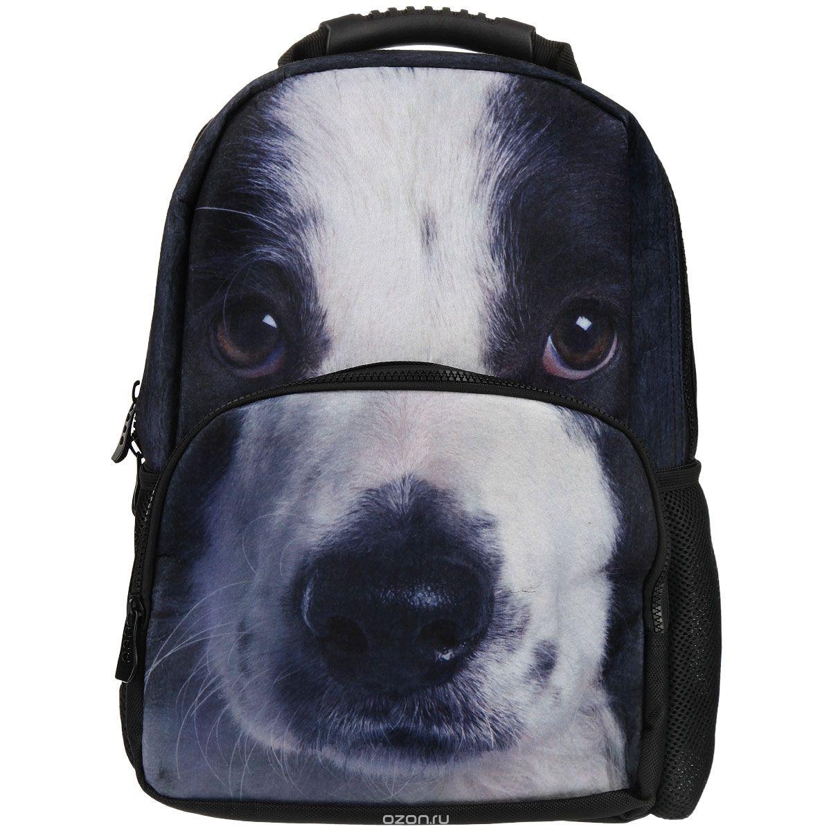 Рюкзак школьный Trend Line Puppy, цвет: черныйNR_00049Стильный школьный рюкзак Trend Line выполнен из полиэстера, дополнен вставкой из флиса, которая оформлена художественной печатью с изображением Puppy. Рюкзак имеет одно основное отделение, закрывающееся на застежку-молнию. Снаружи, на лицевой стороне, рюкзака размещен накладной карман на молнии, внутри которого предусмотрен еще один накладной карман на липучке. С двух сторон изделия расположены два накладных сетчатых кармашка. В верхней части изделия предусмотрена эргономичная ручка для переноски, а также предусмотрены регулируемые лямки. Такой рюкзак станет незаменимым спутником вашего ребенка в походах за знаниями.