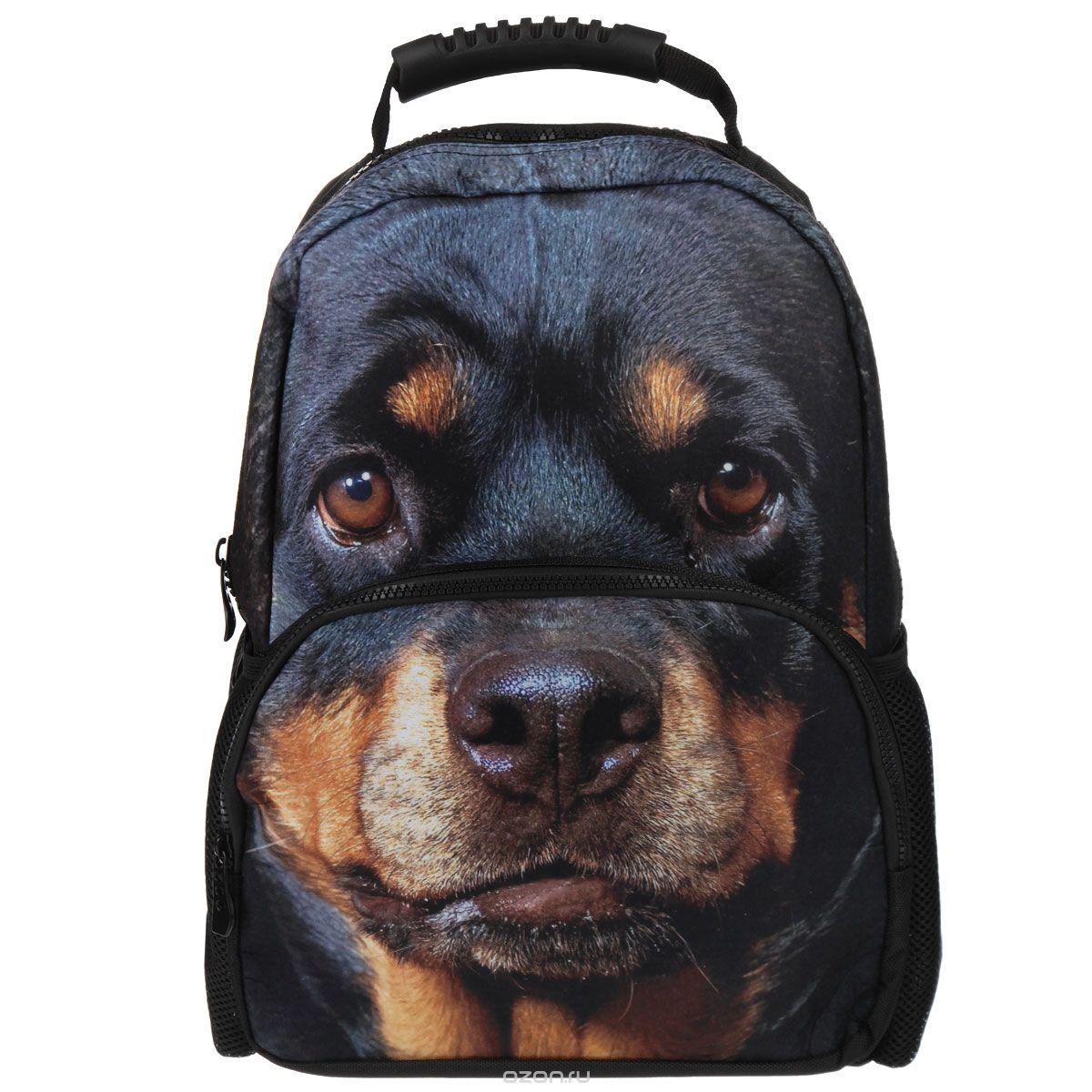 Рюкзак Trend Line Security dog, цвет: черный. NR_00039NR_00039Стильный школьный рюкзак Trend Line Security dog выполнен из полиэстера, дополнен вставкой из флиса, которая оформлена художественной печатью с изображением собаки. Рюкзак имеет одно основное отделение, закрывающееся на застежку-молнию. Снаружи, на лицевой стороне, рюкзака размещен накладной карман на молнии, внутри которого предусмотрен еще один накладной карман на липучке. С двух сторон изделия расположены два накладных сетчатых кармашка. В верхней части изделия предусмотрена эргономичная ручка для переноски, а также предусмотрены регулируемые лямки. Такой рюкзак станет незаменимым спутником вашего ребенка в походах за знаниями.