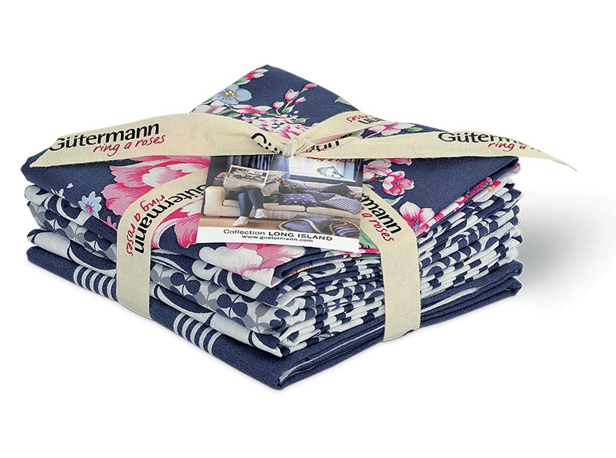 Ткань для пэчворка Long Island, цвет: темно-синий, 45 см х 55 см, 5 шт7713824_2Ткань Long Island изготовленная из 100% хлопка и украшенная цветами, предназначена для пэчворка. Пэчворк - это вид рукоделия, при котором по принципу мозаики сшивается цельное изделие из кусочков ткани (лоскутков). Ткань используется для изготовления одеял, покрывал, сумок, аппликаций и прочих изделий в лоскутной технике, а также пошива кукол, аксессуаров и одежды. Хлопковая ткань не линяет, малоосыпаема на срезах.