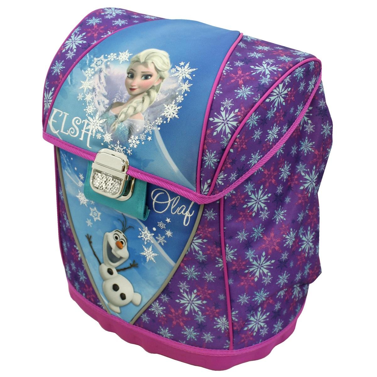 Ранец Холодное сердце26302Большой ранец «Disney» Холодное сердце имеет прочный каркас, поэтому содержащиеся в нем вещи не помнутся. В его основное отделение легко поместятся предметы формата А4. Внутри есть два отсека для тетрадей и приспособление для ключей. Сверху ранец закрывается прочным клапаном на металлическую застежку. Снаружи есть два боковых кармана на молнии. Ортопедическая спинка, созданная по специальной технологии из дышащего материала, равномерно распределяет нагрузку на плечевые суставы и спину. Удлиненные держатели облегчают фиксацию длины ремней с мягкими подкладками. Светоотражающие элементы, расположенные на лямках, внешнем кармане и металлической застежке, повышают безопасность ребенка на дороге в темное время суток. Мягкая ручка удобна для переноски рюкзака в руке. Аксессуар изготовлен из износоустойчивых материалов с водонепроницаемой основой, декорирован ярким принтом, глиттером и подвесками на молнии.