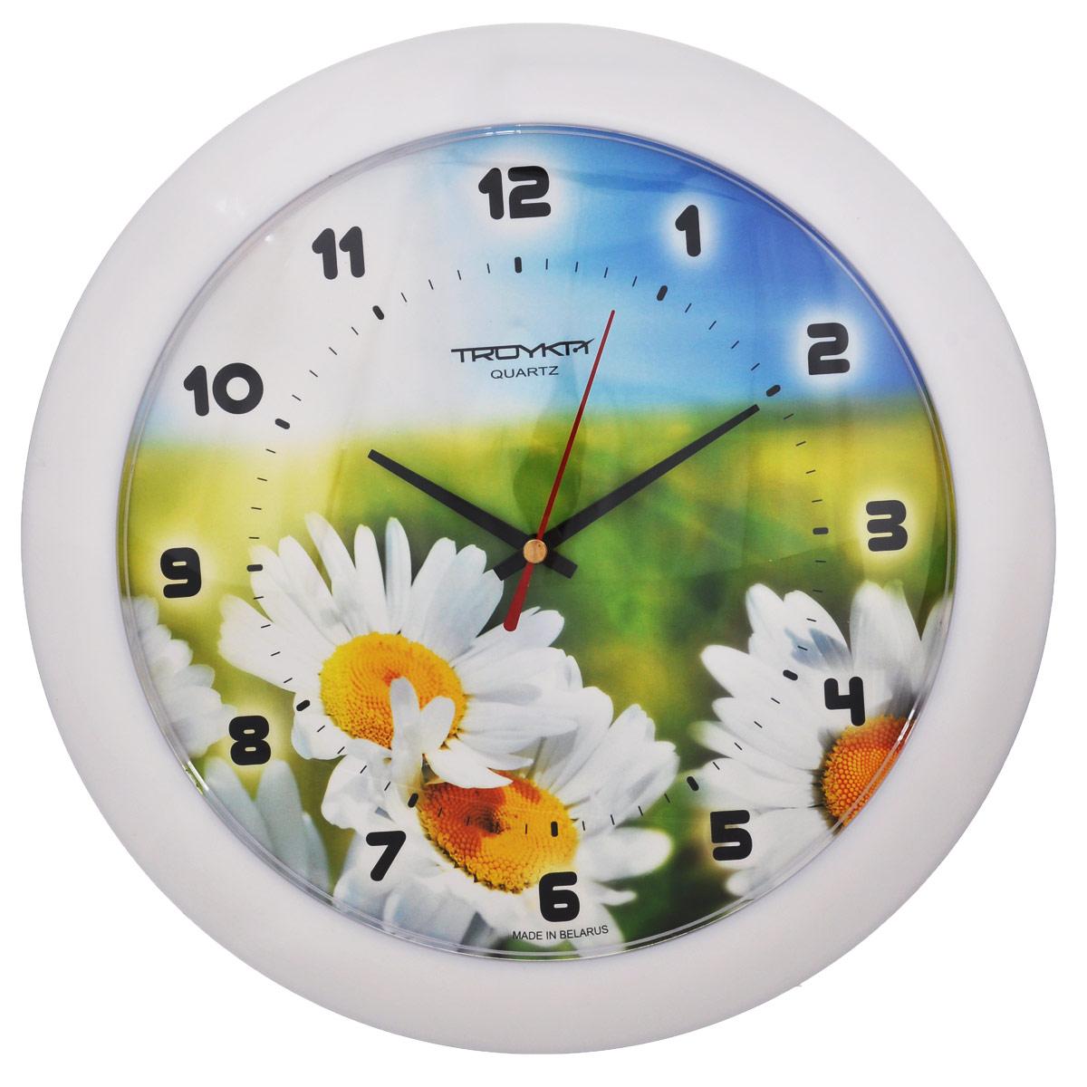 Часы настенные Troyka Полевые ромашки, цвет: белый, зеленый, голубой. 5151053251510532Настенные кварцевые часы Troyka Полевые ромашки, изготовленные из пластика, прекрасно подойдут под интерьер вашего дома. Круглые часы имеют три стрелки: часовую, минутную и секундную, циферблат украшен изображением ромашек и защищен прозрачным пластиком. Диаметр часов: 30,5 см. Часы работают от 1 батарейки типа АА напряжением 1,5 В (входит в комплект).