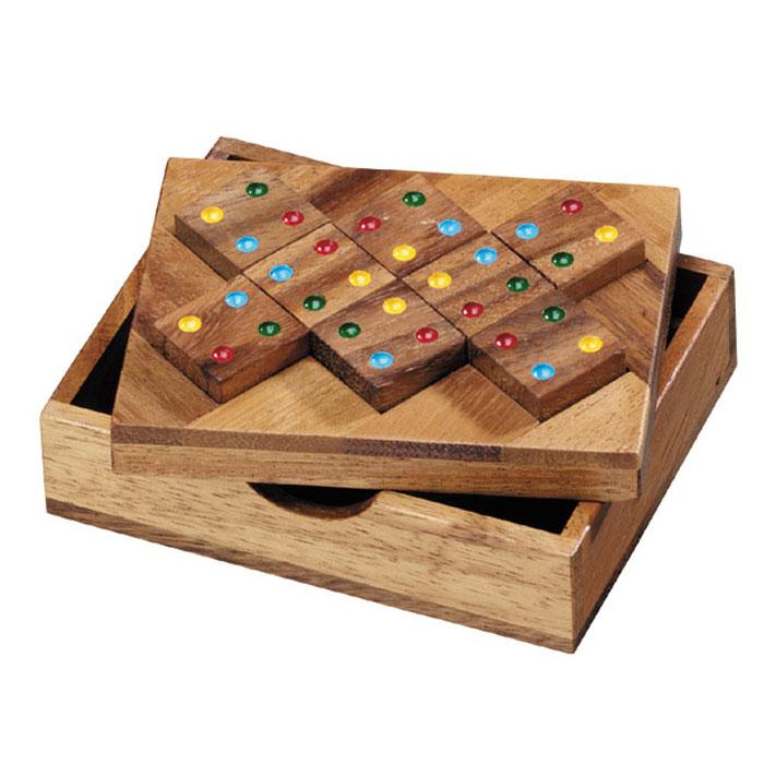 Dilemma Головоломка Восемь квадратовIQ408Головоломка Dilemma Восемь квадратов, выполненная из дерева, станет отличным подарком всем любителям головоломок! Игра включает деревянную доску и 8 деревянных квадратов с точками 4 разных цветов. Цель: расположить все квадраты на доске так, чтобы одинаковые цвета стояли рядом друг с другом. Слишком сложно? Тогда вы можете воспользоваться предложенным решением в качестве подсказки. Игра рассчитана на одного игрока. Головоломка Dilemma Восемь квадратов стимулирует логику, пространственное мышление и мелкую моторику рук.