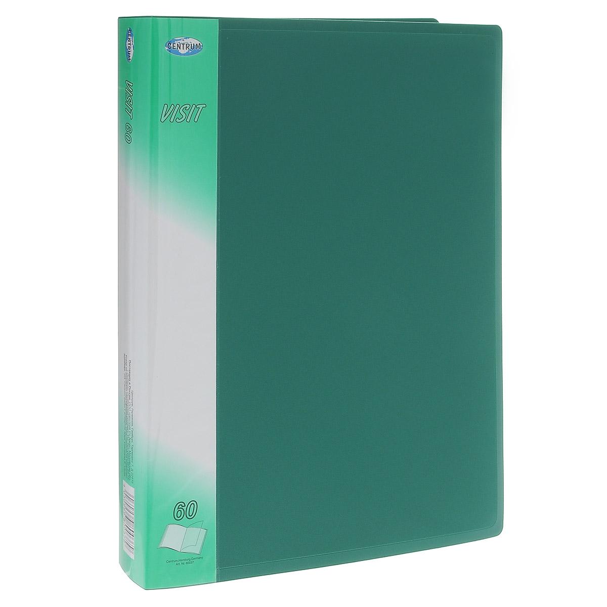 Папка с файлами Centrum Visit, 60 листов, цвет: зеленый. 8003780037_зеленыйПапка Centrum Visit с 60 прозрачными вкладышами-файлами предназначена для хранения и презентации документов формата А4. Папка изготовлена из полупрозрачного фактурного пластика, благодаря чему документы, помещенные в нее, будут надежно защищены. Прочное соединение папки и вкладышей обеспечено за счет их лазерной сварки. Углы папки закруглены. Папка надежно сохранит ваши документы и сбережет их от повреждений, пыли и влаги.