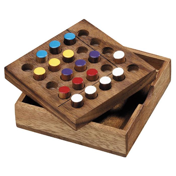 Dilemma Головоломка Пазл 8IQ409Головоломка Dilemma Пазл 8, выполненная из дерева, станет отличным подарком всем любителям головоломок! Головоломка содержит 2 игры: 8 в квадрате: Освободите доску и выберите 5 фишек одного цвета (белого) и 3 фишки другого цвета (желтого). Цель: поставить эти фишки на доску. 4x4: Освободите доску и выберите фишки 5 разных цветов следующим образом: 4 белых, 3 красных, 3 желтых, 3 синих и 3 фиолетовых. В этой игре используйте маленький квадрат доски (4х4). Цель: поставить эти фишки на маленький квадрат доски. Слишком сложно? Тогда вы можете воспользоваться предложенным решением в качестве подсказки. Игра рассчитана на одного игрока. Головоломка Dilemma Пазл 8 стимулирует логику, пространственное мышление и мелкую моторику рук.