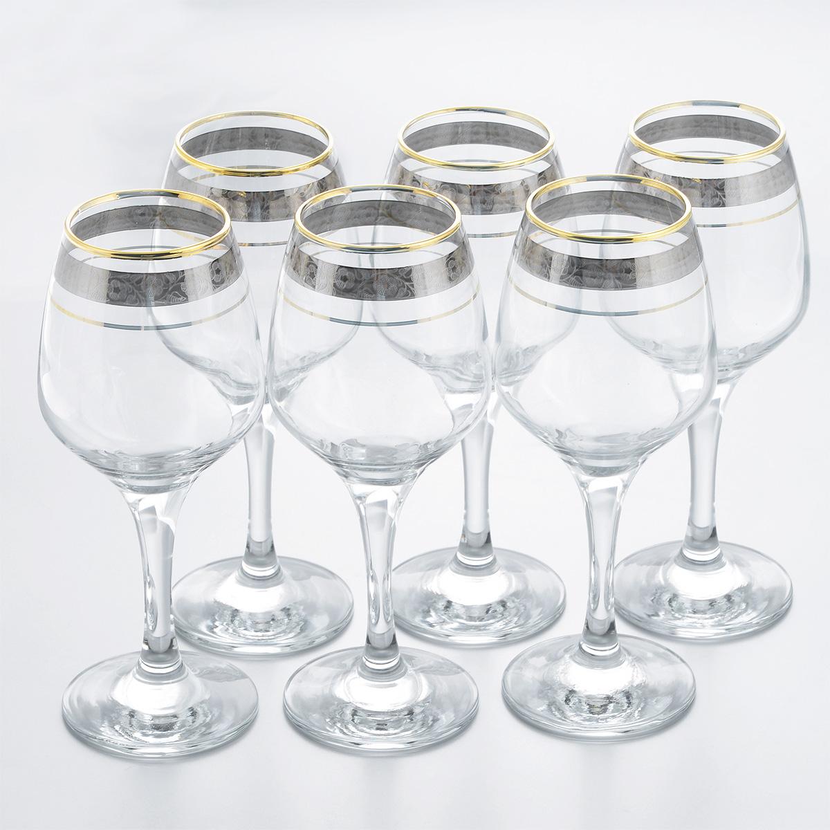 Набор фужеров Гусь Хрустальный Изабелла. Флорис, 375 мл, 6 штTL32-4171Набор Гусь Хрустальный Изабелла. Флорис состоит из шести фужеров, выполненных из прочного натрий-кальций-силикатного стекла и предназначенных для подачи игристых вин. Изящные фужеры на высоких ножках, декорированные золотистым орнаментом и окантовкой, излучают приятный блеск и издают мелодичный звон. Сочетают в себе элегантный дизайн и функциональность. Набор фужеров Гусь Хрустальный Изабелла. Флорис прекрасно оформит праздничный стол и создаст приятную атмосферу за романтическим ужином. Такой набор также станет хорошим подарком к любому случаю. Можно мыть в посудомоечной машине или вручную с использованием моющих средств, не содержащих абразивных материалов. Диаметр фужера (по верхнему краю): 6 см. Высота фужера: 20 см. Диаметр основания фужера: 7,5 см.