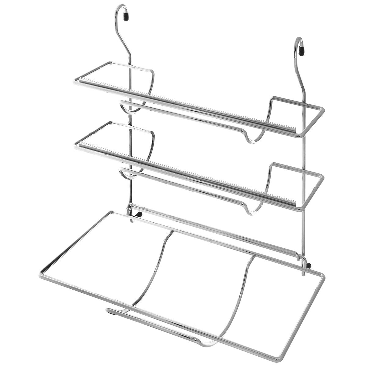 Держатель для фольги и бумажных полотенец Tescoma Monti, навесной, 33 см900056Навесной держатель для фольги и бумажных полотенец Tescoma выполнен из прочного металла с хромированным покрытием. Он устойчив к механическим повреждениям и пару, легко моется. Держатель снабжен тремя планками для хранения всех обычных видов фольги, продуктовой пленки и бумажных полотенец в рулонах. Такой держатель отлично подойдет к интерьеру вашей кухни. Подвешивается на рейлинг.
