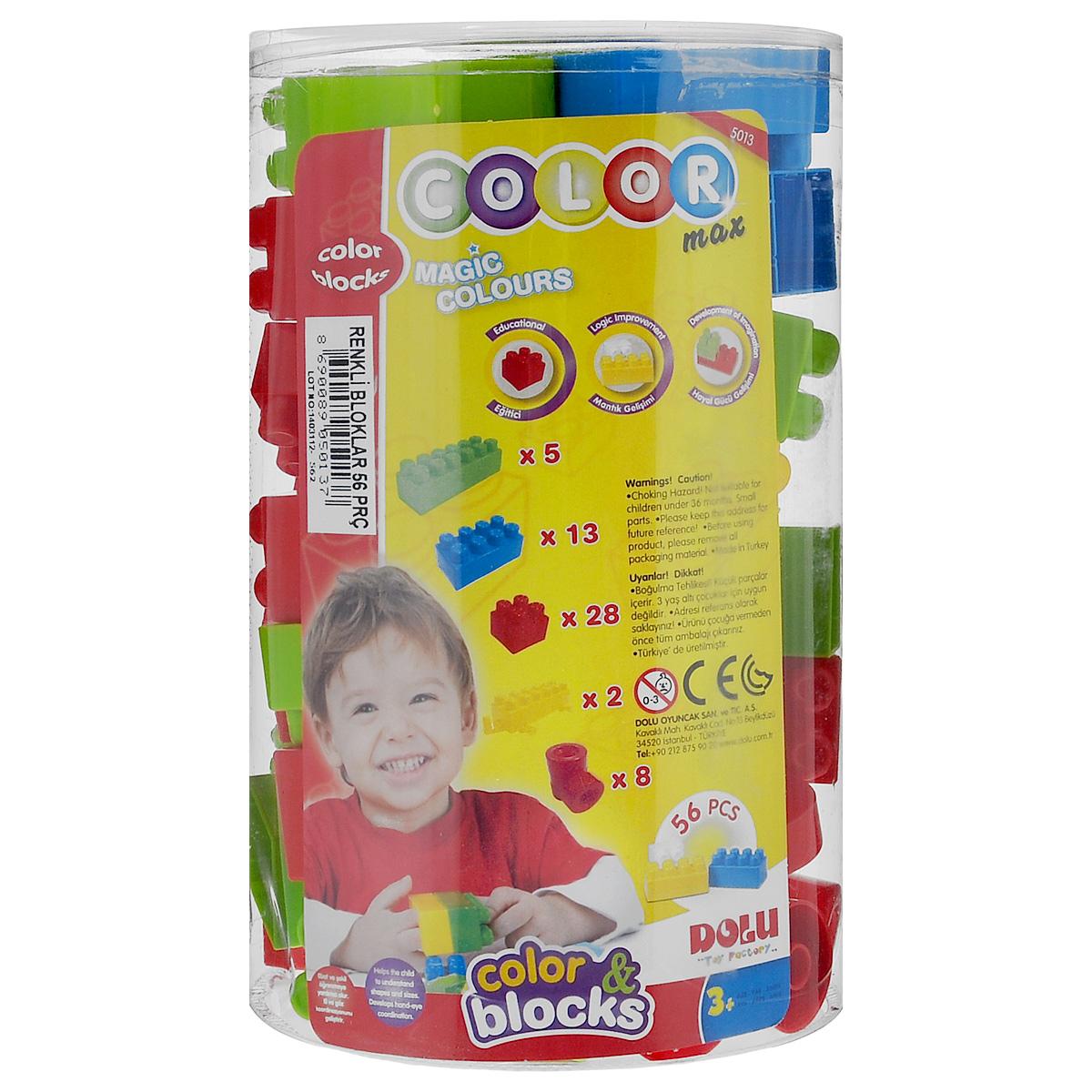 Dolu Конструктор Color Max5013 D-5Конструктор Dolu Color Max понравится любому ребенку. Он содержит 56 пластиковых элементов различного размера. С помощью этого набора ребенок сможет без труда создать любые поделки - простор для творчества ограничен лишь его фантазией! Конструктор разработан специально для малышей. Он имеет увеличенные детали, которые не только удобны для маленьких пальчиков ребенка, но и исключают возможность случайного проглатывания. Конструктор выполнен из прочного пластика. Малыш сможет часами играть с конструктором, комбинируя детали и придумывая различные истории. Игры с конструкторами помогут ребенку развить воображение, внимательность, пространственное мышление и творческие способности.