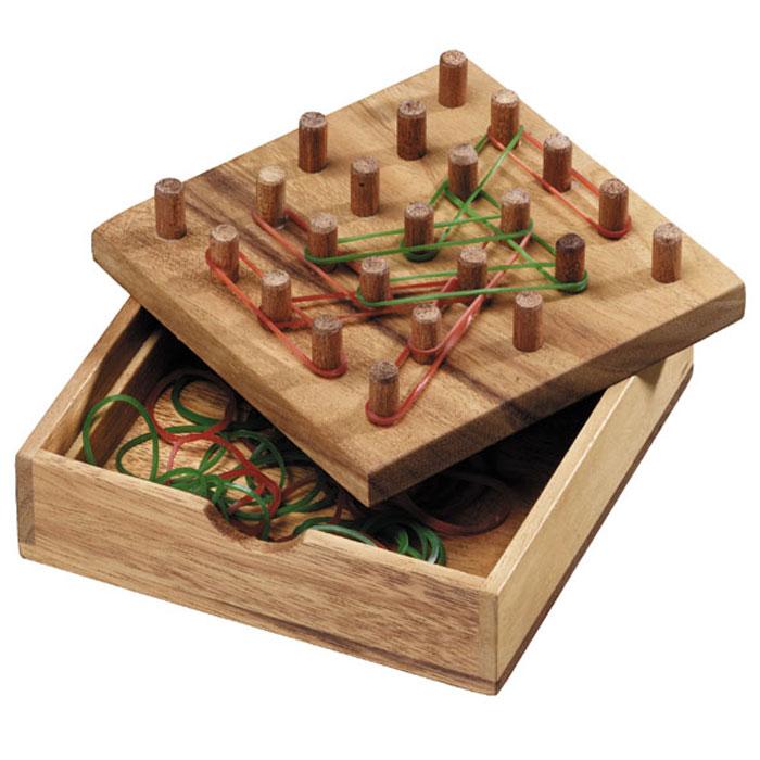 Dilemma Головоломка Полоса из треугольниковIQ958Головоломка Dilemma Полоса из треугольников, выполненная из дерева и резины, станет отличным подарком всем любителям головоломок! Игра состоит из доски с 23 фишками и резиновыми лентами двух разных цветов. Уберите с доски все резиновые ленты. Каждый игрок выбирает цвет резиновых лент. Цель: Составить на доске один равносторонний треугольник из резинок. Стратегическая игра для двух игроков. Головоломка Dilemma Полоса из треугольников стимулирует логику, пространственное мышление и мелкую моторику рук.