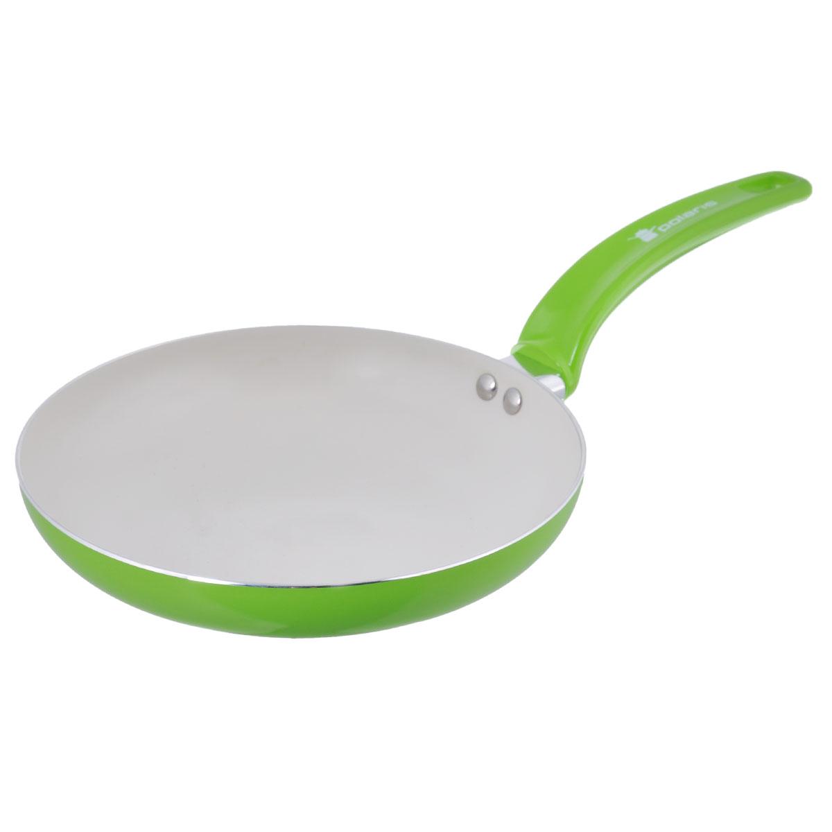 Сковорода Polaris Rainbow, с керамическим покрытием, цвет: салатовый. Диаметр 28 смRain-28FСковорода Polaris Rainbow изготовлена из штампованного алюминия толщиной 2,5 мм с керамическим антипригарным покрытием. Данное покрытие является абсолютно экологичным и не содержит вредных веществ, таких как PTFE и PFOA. Это позволяет готовить здоровую пищу с минимальным добавлением жира или подсолнечного масла. Сковорода быстро разогревается и распределяет тепло по всей поверхности. Сковорода оснащена удобной ручкой из бакелита. Изделие подходит для газовых, электрических, стеклокерамических плит. Не подходит для индукционных плит. Сковороду можно мыть в посудомоечной машине. Не использовать в СВЧ-печах. Высота стенки: 5 см. Толщина стенки: 2,5 мм. Толщина дна: 2,5 мм. Длина ручки: 18 см.