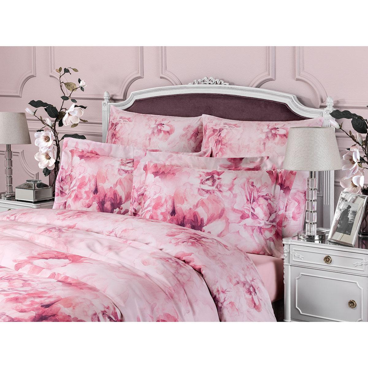 Лорель роз. комплект постельного белья 145 Х 200-1/200 Х 230/50 Х 70-2, 4 пр, тенсель