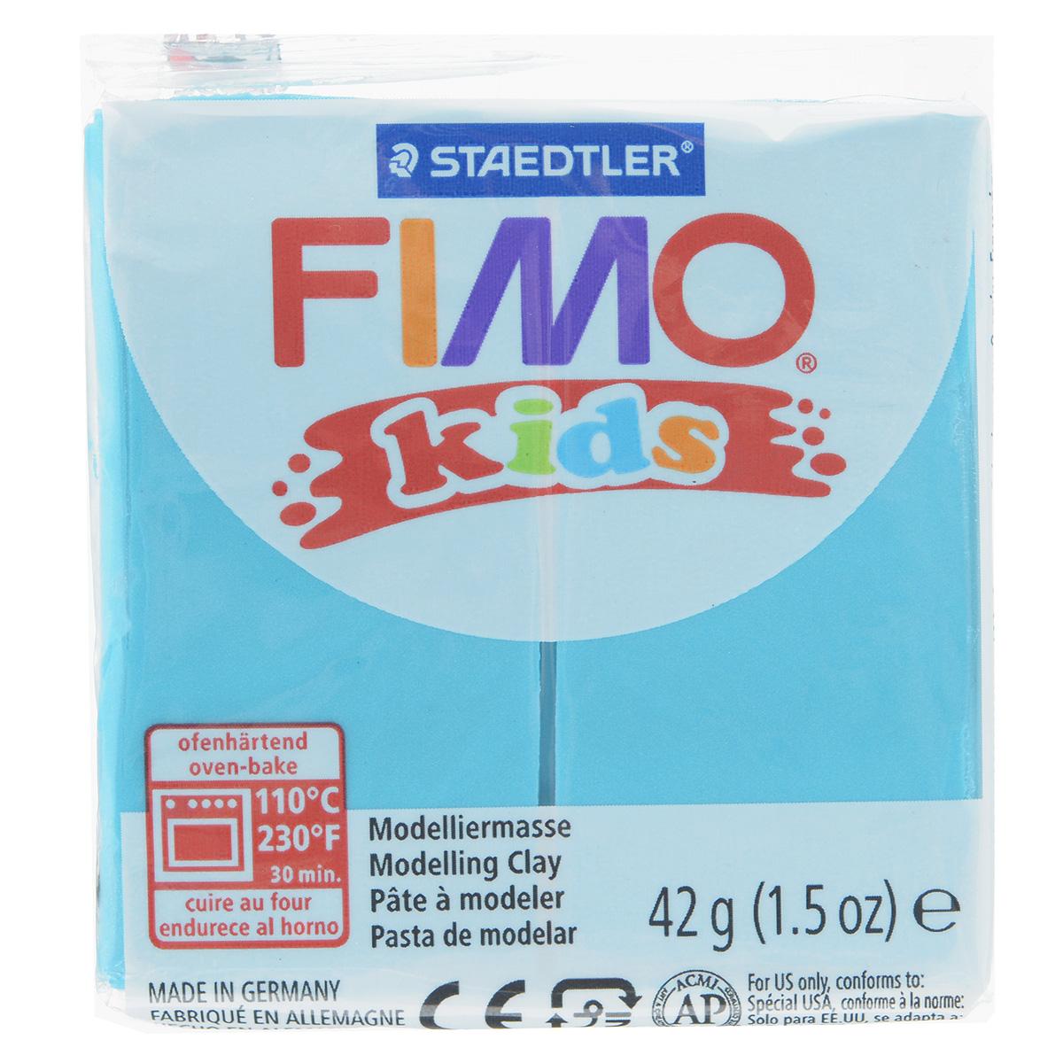 Полимерная глина для детей Fimo Kids, цвет: бирюзовый (39), 42 г8030-39Мягкая глина на полимерной основе (пластика) Fimo Kids идеально подходит для лепки небольших изделий (украшений, скульптурок, кукол) и для моделирования. Глина обладает отличными пластичными свойствами, хорошо размягчается и лепится, легко смешивается между собой, благодаря чему можно создать огромное количество поделок любых цветов и оттенков, не имеет запаха. Идеально подходит для работы с детьми. Блок разделен на 2 сегмента, что позволяет легче разделять глину на порции. В домашних условиях готовая поделка выпекается в духовом шкафу при температуре 110°С в течении 15-30 минут (в зависимости от величины изделия). Отвердевшие изделия могут быть раскрашены акриловыми красками, покрыты лаком, склеены друг с другом или с другими материалами.