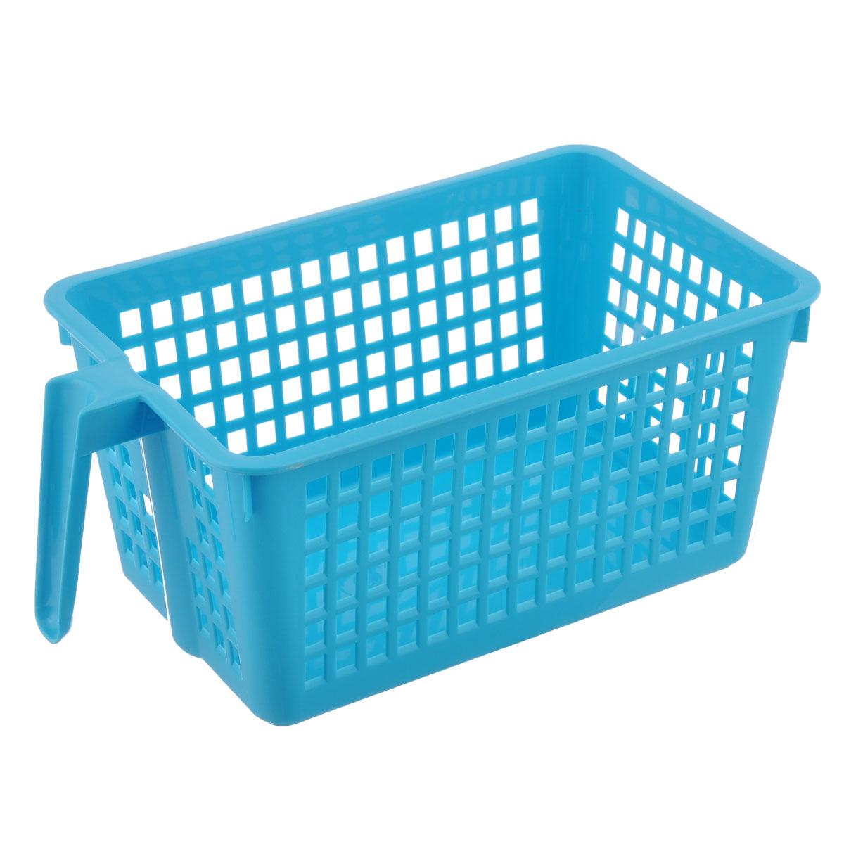 Корзинка универсальная Econova, с ручкой, цвет: голубой, 28 х 16 х 12 см847545Универсальная корзинка Econova изготовлена из высококачественного пластика и предназначена для хранения и транспортировки вещей. Корзинка подойдет как для пищевых продуктов, так и для ванных принадлежностей и различных мелочей. Изделие оснащено ручкой для более удобной транспортировки. Стенки корзинки оформлены перфорацией, что обеспечивает естественную вентиляцию. Универсальная корзинка Econova позволит вам хранить вещи компактно и с удобством.