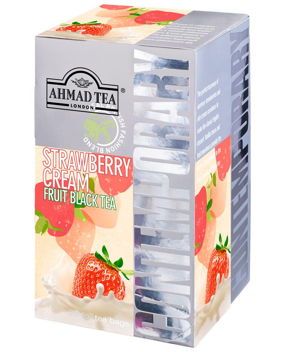 Ahmad Tea Strawberry Cream черный чай в фольгированных пакетиках, 20 шт