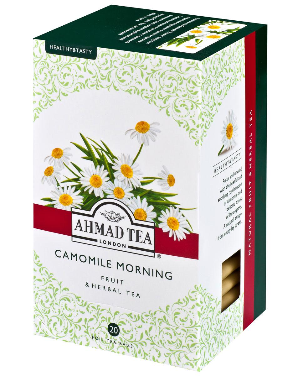Ahmad Tea Camomile Morning травяной чай в фольгированных пакетиках, 20 шт1163Чашечка чая Камомайл Монинг погружает в приятное ощущение отдыха и гармонии. Сладость ромашки в сочетании с кислинкой лимонного сорго создают выразительный вкусовой букет. Чай, заставляющий забыть о суете.