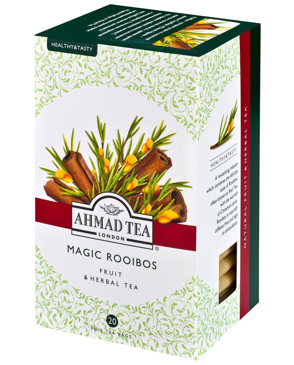 Ahmad Tea Magic Rooibos травяной чай в фольгированных пакетиках, 20 шт1165Ройбуш - кустарник родом из солнечной Долины Седеберг в Южной Африке - известен в качестве напитка с древних времен. Не содержит кофеина, является источником микроэлементов, минералов, витамина С и антиоксидантов. Утонченный сладковатый вкус ройбуша пикантно дополняется согревающими нотками пряной корицы в ароматном чае Ahmad Magic Rooibos. Заваривать 5 минут.