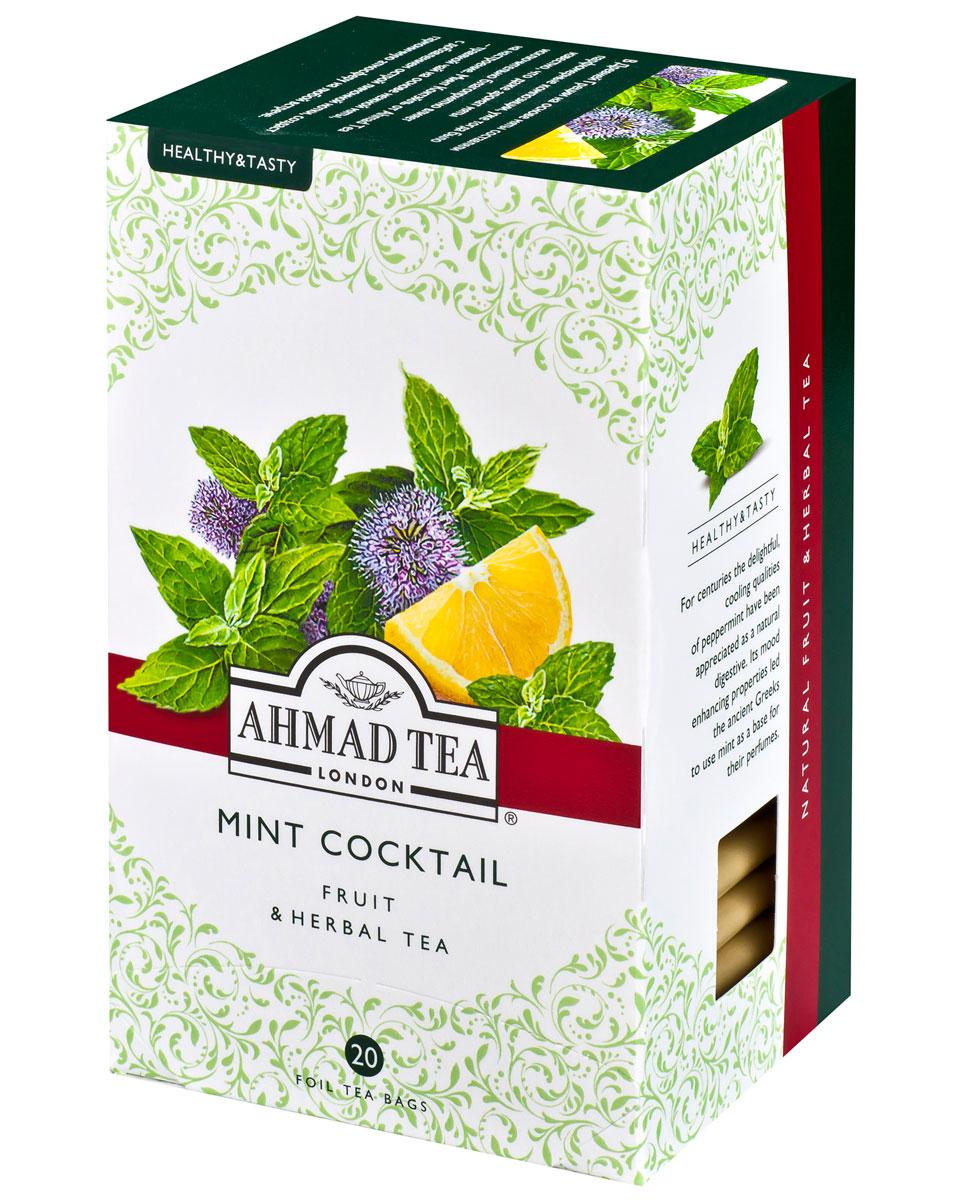 Ahmad Tea Mint Cocktail травяной чай в фольгированных пакетиках, 20 шт1166В Древней Греции на основе мяты составляли парфюмерные композиции, уже тогда было известно, что мята обладает множеством полезных свойств, а аромат мяты исключительно благоприятно влияет на настроение. Минт Коктэйль от Ahmad Tea - травяной чай на основе нежной мяты, c добавлением острой лимонной нотки, создаст гармоничную атмосферу на любой встрече.