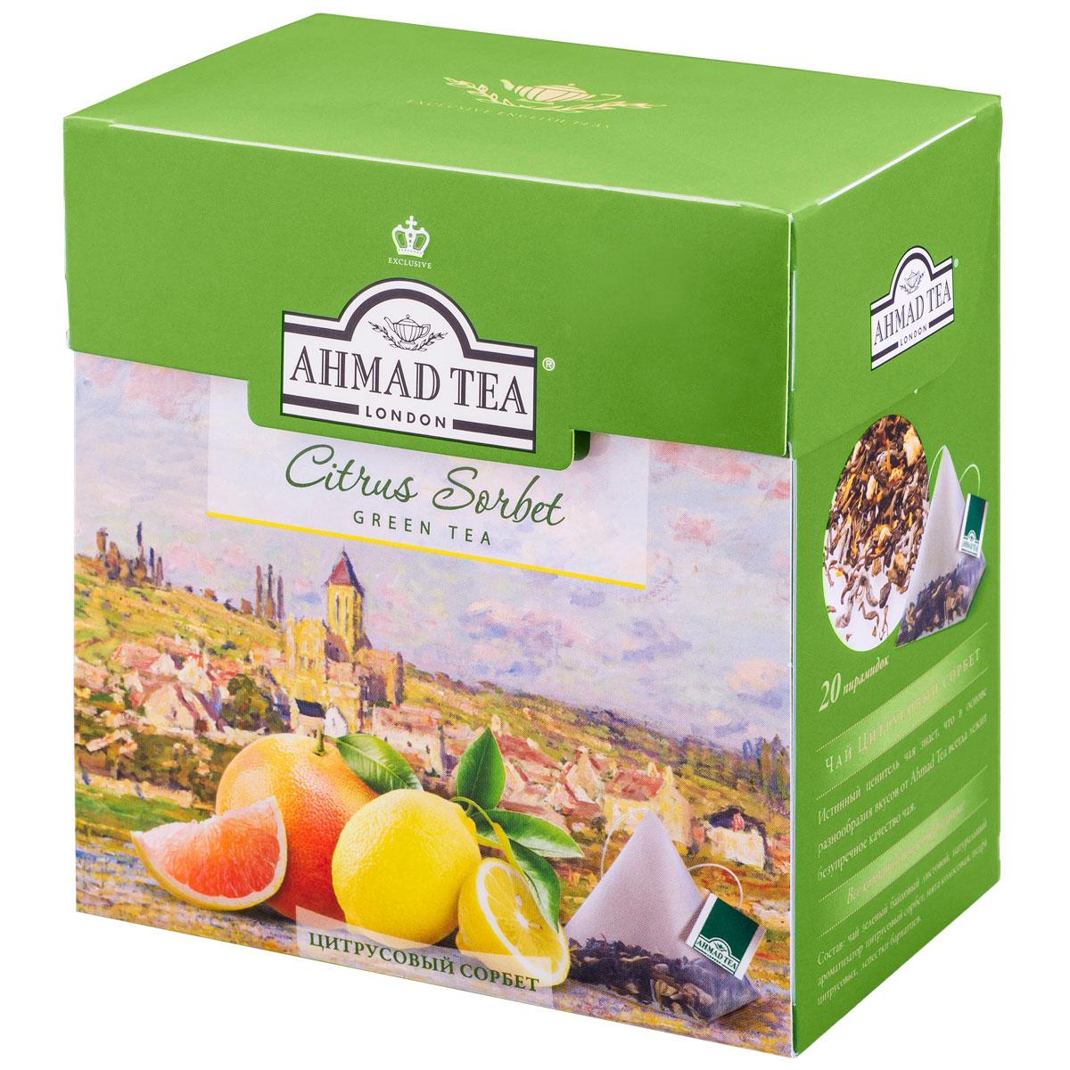 Ahmad Tea Citrus Sorbet зеленый чай в пирамидках, 20 шт1239Ahmad Tea Citrus Sorbet - изысканный, сложный букет, в котором вкус утонченного зеленого чая становится особенно выразителен в обрамлении грейпфрутовых и лимонно-мятных нот. Заваривать 4-6 минут, температура воды 90°.