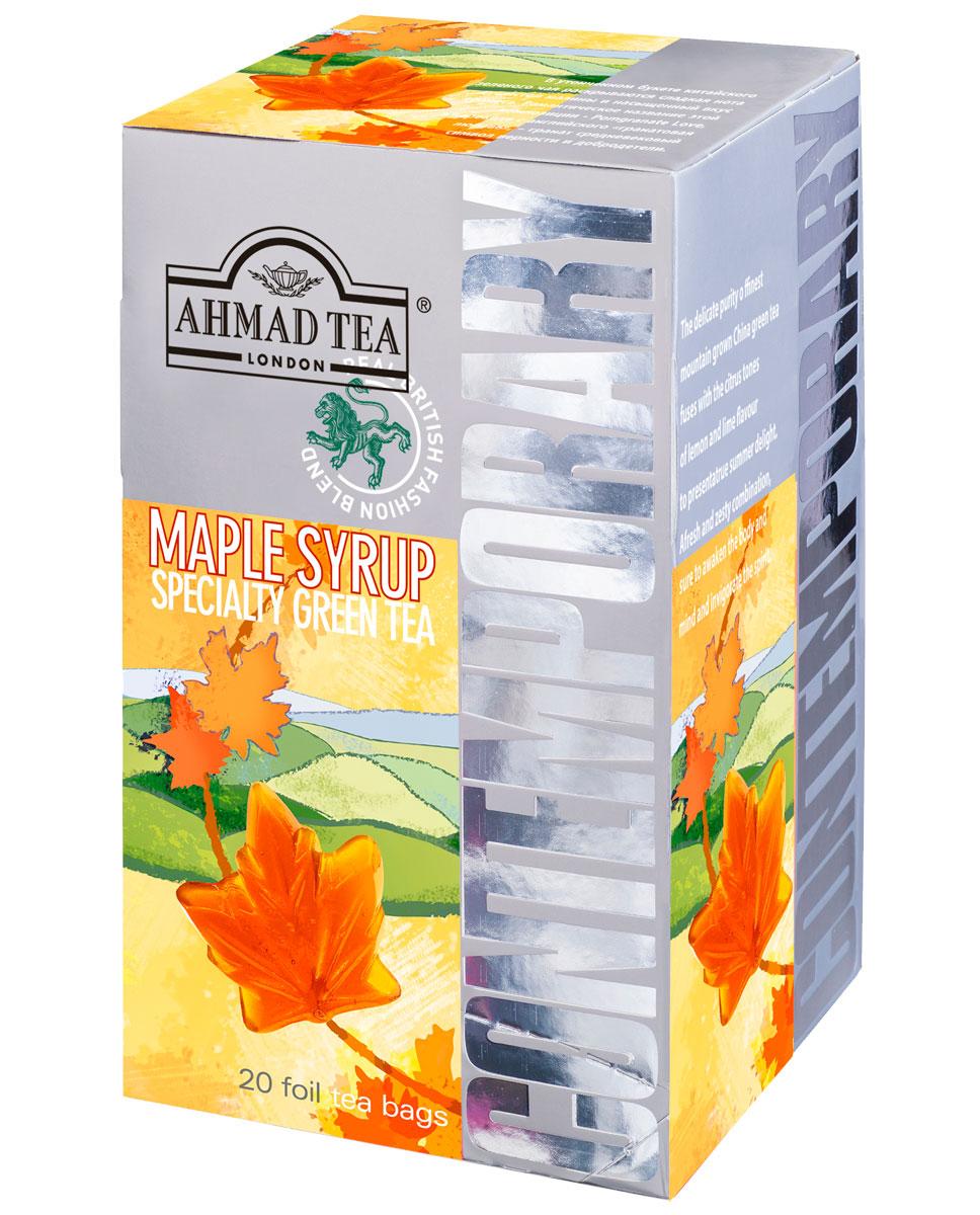 Ahmad Tea Maple Syrup зеленый чай в фольгированных пакетиках, 20 шт1399Терпкие сладковатые ноты зеленого чая Ahmad Tea Maple Syrup сопровождает шлейф орехового послевкусия. Кленовый сироп, традиционное канадское лакомство, в сочетании с зеленым чаем дарит чашечку золотистого настоя с чуть сладким, напоминающим карамель, вкусом.
