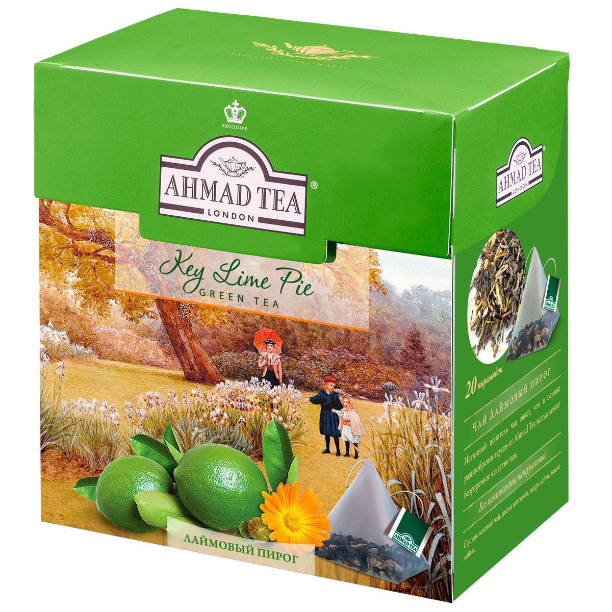 Ahmad Tea Lime Pie зеленый чай в пирамидках, 20 шт1401Ароматный купаж зеленого чая Ahmad Lime Pie со вкусом лаймового пирога - обворожительная фантазия чайных сомелье на тему десертных композиций. Светлый настой золотистого цвета обладает освежающим ароматом садовых трав, традиционной сладостью китайского зеленого чая и сливочно-лаймовым послевкусием. Заваривать 4-6 минут, температура воды 90°С.