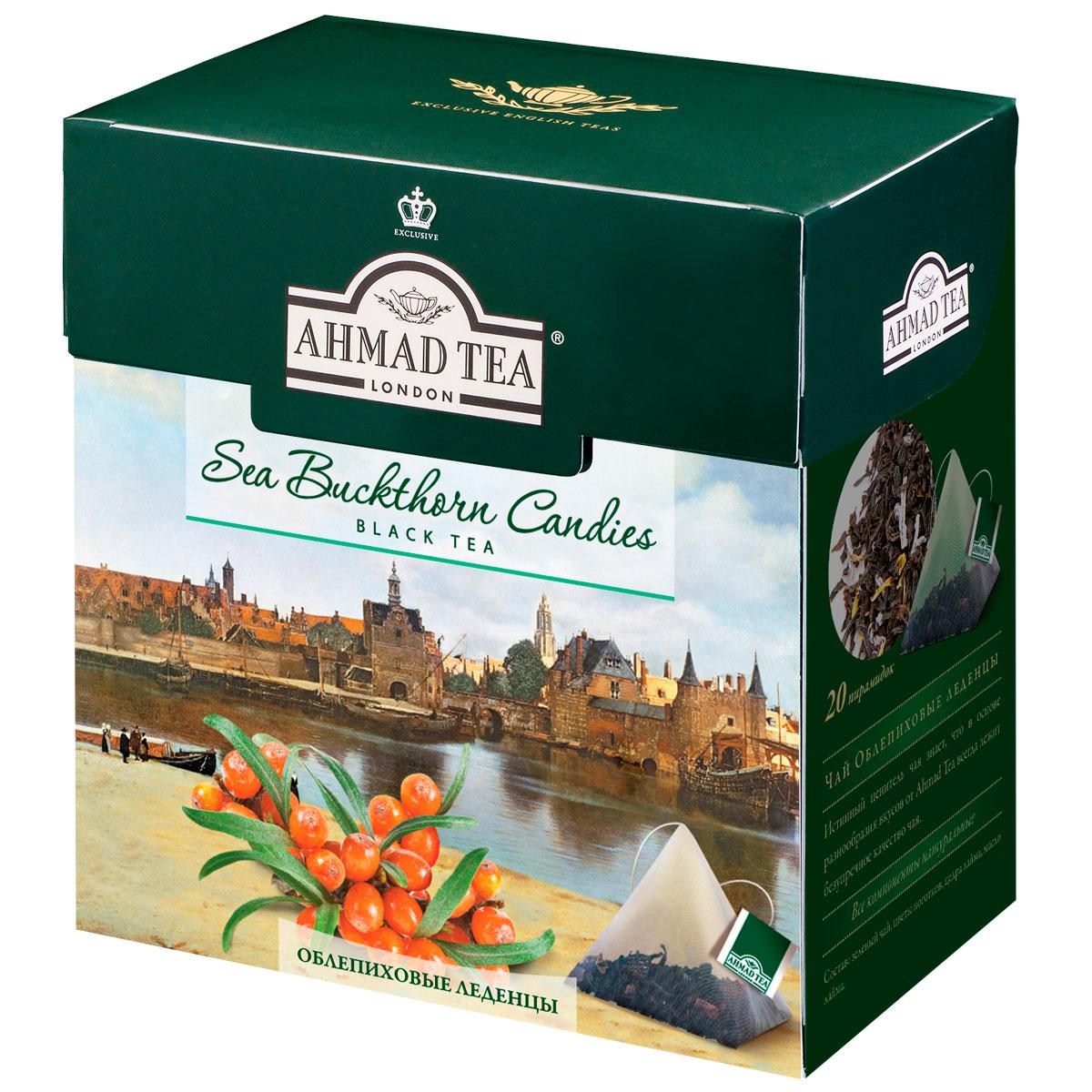 Ahmad Tea Buckthorn Candies черный чай в пирамидках, 20 шт1402Ahmad Tea Buckthorn Candies - черный чай в пирамидках. Ягоды облепихи в сочетании с черным чаем составляют утонченную вкусовую палитру. Букет цейлонского и ассамского чая играет главную ноту, которую гармонично подчеркивает кисло-сладкое облепиховое послевкусие.