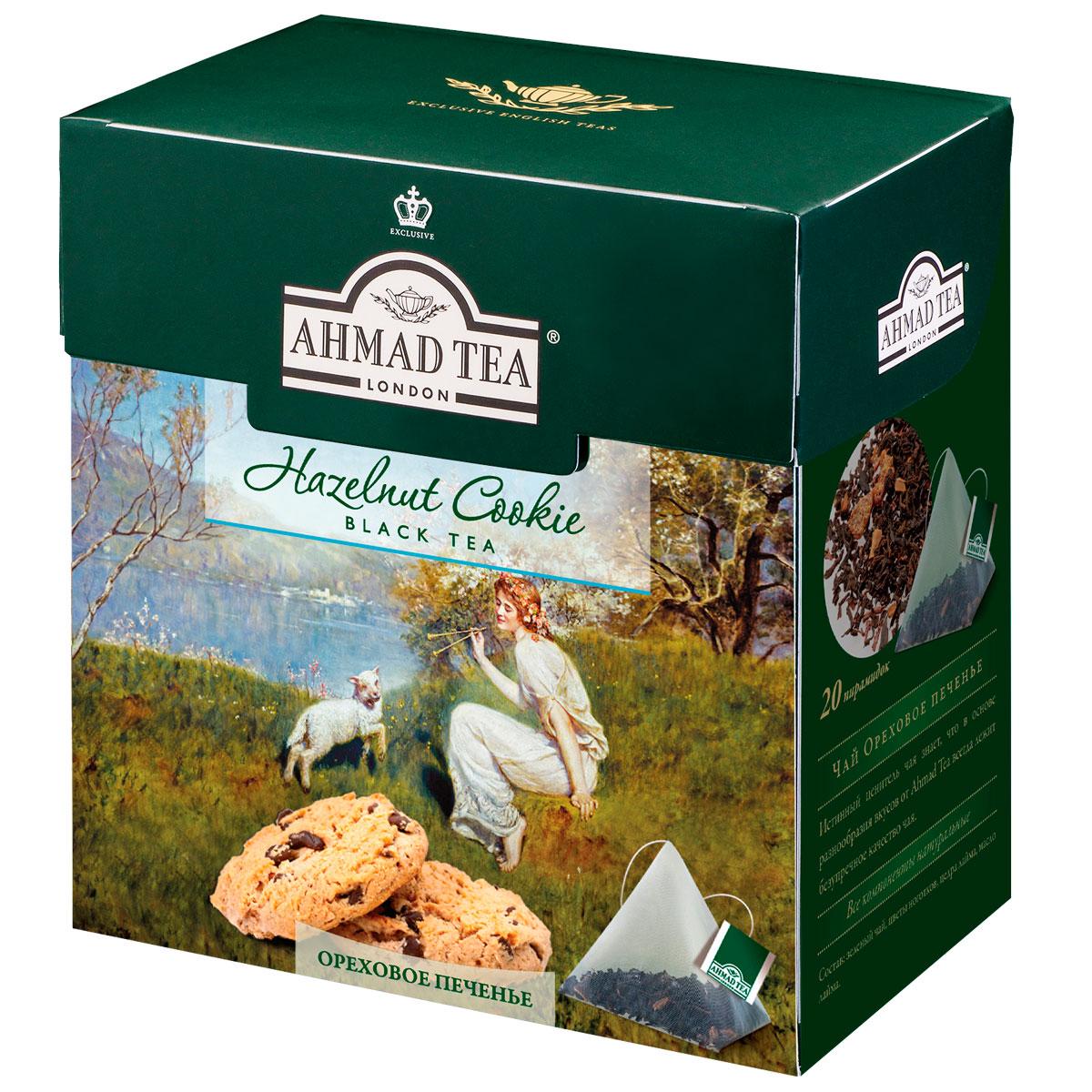 Ahmad Tea Hazelnut Cookie черный чай в пирамидках, 20 шт1403Благородный вкус черного чая Ahmad Tea Hazelnut Cookie с высокогорных плантаций Индии и Цейлона приобретает особенную выразительность в сочетании с тонким ореховым послевкусием. Сластинка лесного ореха смягчает классическую терпкость черного чая и придает десертное звучание этому изысканному купажу.