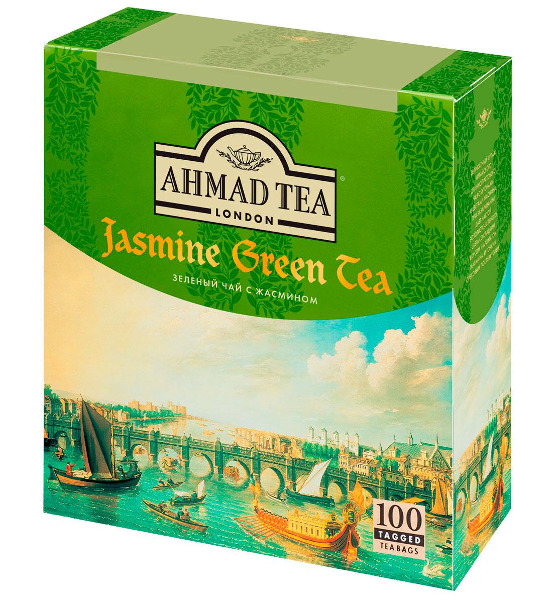 Ahmad Tea зеленый чай с жасмином в пакетиках, 100 шт475Ahmad Jasmine Green Tea - деликатный купаж китайского длиннолистового чая с бутонами и цветами жасмина. При заваривании дает настой золотисто-зеленого цвета со сладким вкусом и ароматом жасмина, и тонким ореховым послевкусием. Заваривать 3-5 минут, температура воды 90°С.