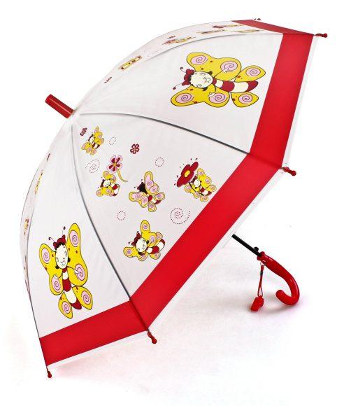 Зонт детский Пчелка, 50 см, свисток63867Детский зонтик-тросточка с ярким принтом защитит ребенка от непогоды. Зонтик не боится дождя и ветра благодаря прочному креплению купола к каркасу. Изогнутая ручка позволяет крепко держать его в руках. К ручке прикреплен свисток. Технические характеристики: Полуавтоматическая система складывания; Концы спиц закрыты пластиковыми шариками; Пластиковый фиксатор на стержне зонтика; Радиус купола – 50 см .