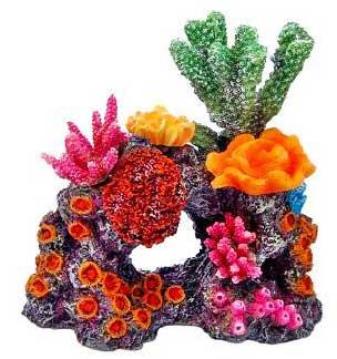 Декорация КОРАЛЛЫ НА РИФЕ 16х16,5х15смFIAD-1176Красочные разнообразные кораллы на массивном основании-рифе. Комбинации из различных кораллов на рифах создают в аквариуме пеструю и экзотическую картину морского дна.