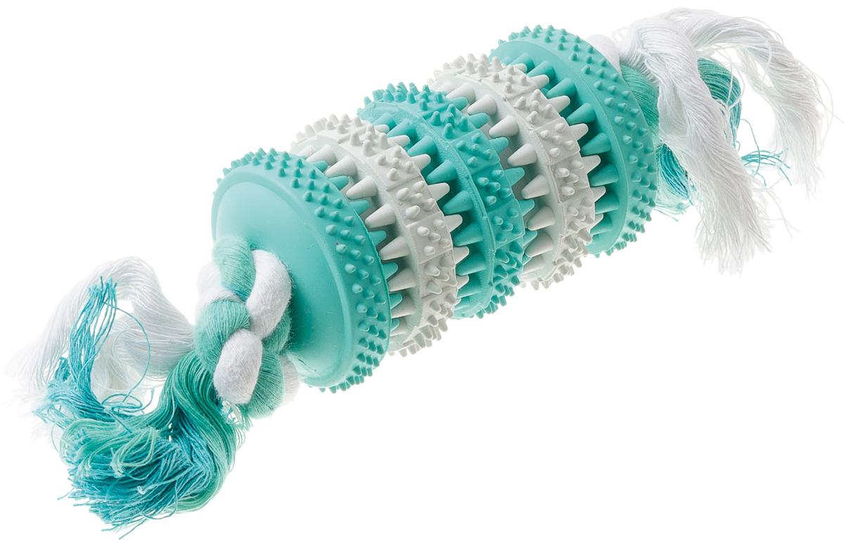 Игрушка резиновая с запахом мяты для чистки зубов Конфета с канатом 19 см 1310413104