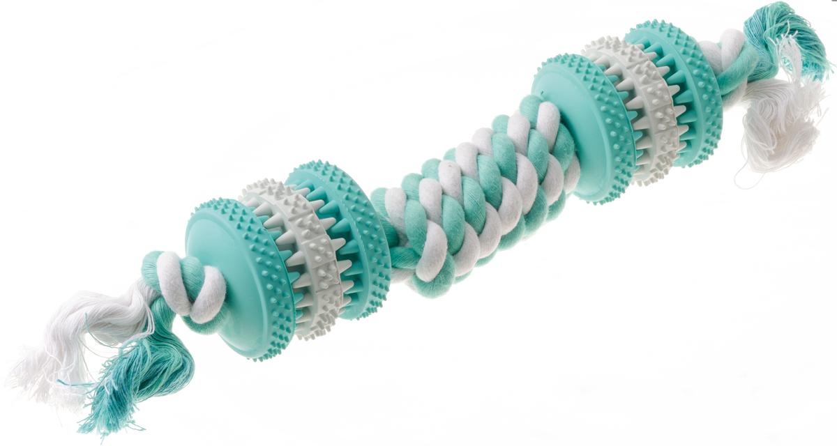 Игрушка резиновая с запахом мяты для чистки зубов Гантель с канатом 28 см 1311513115