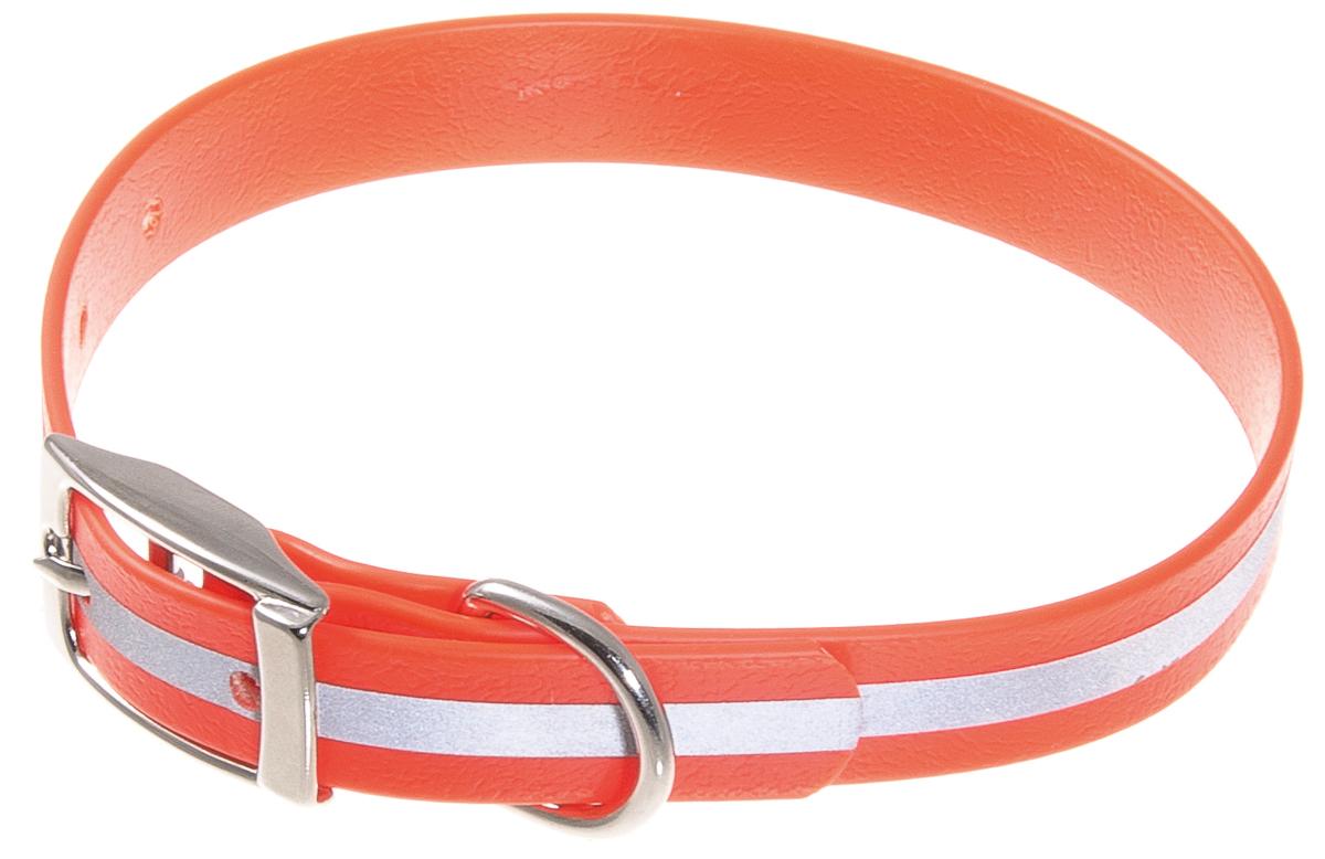 Ошейник для собак V.I.Pet, светоотражающий, цвет: оранжевый, ширина 15 мм, обхват шеи 27-35 см70-0534Биотановый ошейник V.I.Pet подходит для любой, в том числе дождливой погоды, а благодаря светоотражающей полосе делает собаку заметной в темное время суток и обеспечивает безопасность собаки на прогулке. Он не впитывает влагу, не набухает. Легко моется - его достаточно просто протереть. Устойчив к выгоранию, истиранию и изнашиванию. Особо прочный - лента выдерживает нагрузку на разрыв более 300 кг. Материал: Лента PVC, сталь.