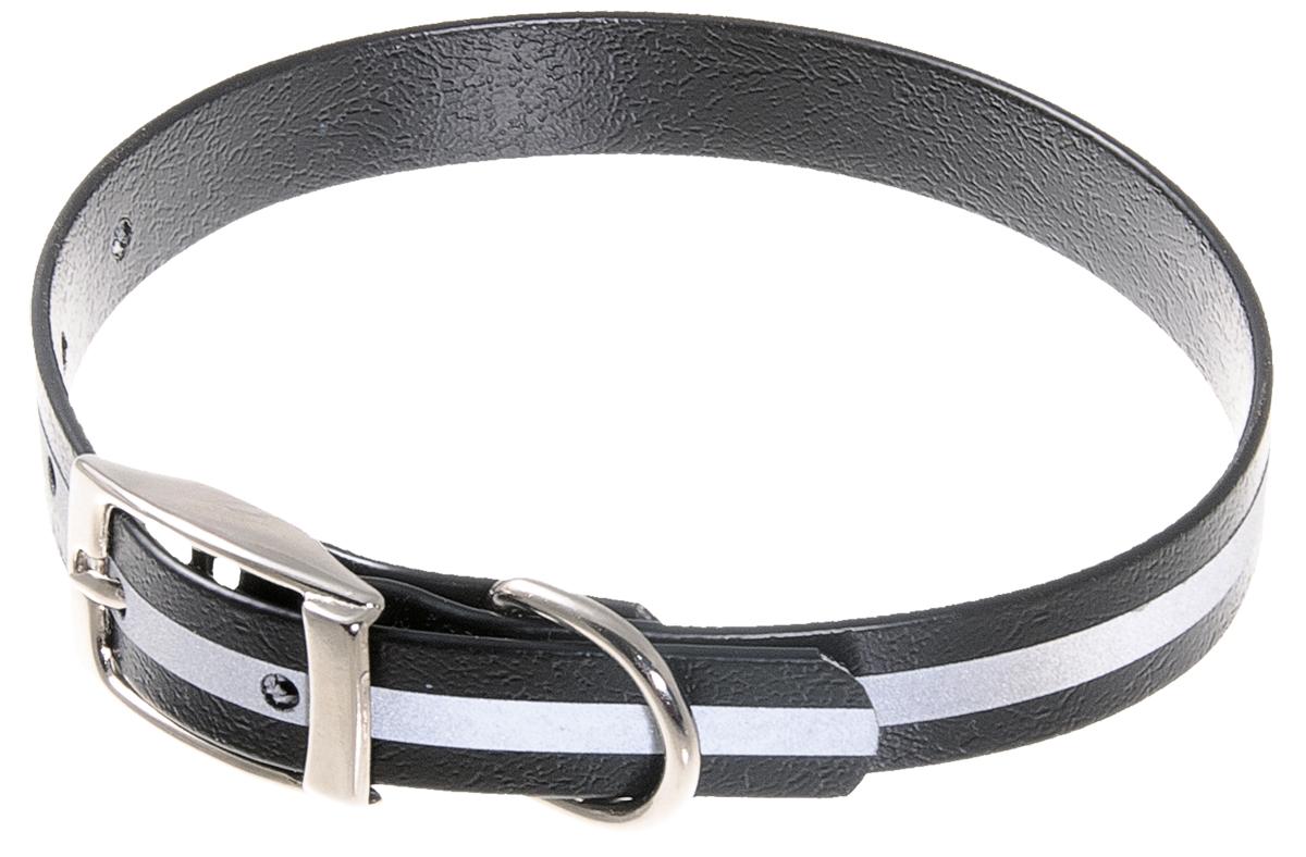 Ошейник для собак V.I.Pet, светоотражающий, цвет: черный, ширина 15 мм, обхват шеи 27-35 см70-0535Биотановый ошейник V.I.Pet подходит для любой, в том числе дождливой погоды, а благодаря светоотражающей полосе делает собаку заметной в темное время суток и обеспечивает безопасность собаки на прогулке. Он не впитывает влагу, не набухает. Легко моется - его достаточно просто протереть. Устойчив к выгоранию, истиранию и изнашиванию. Особо прочный - лента выдерживает нагрузку на разрыв более 300 кг. Материал: Лента PVC, сталь.