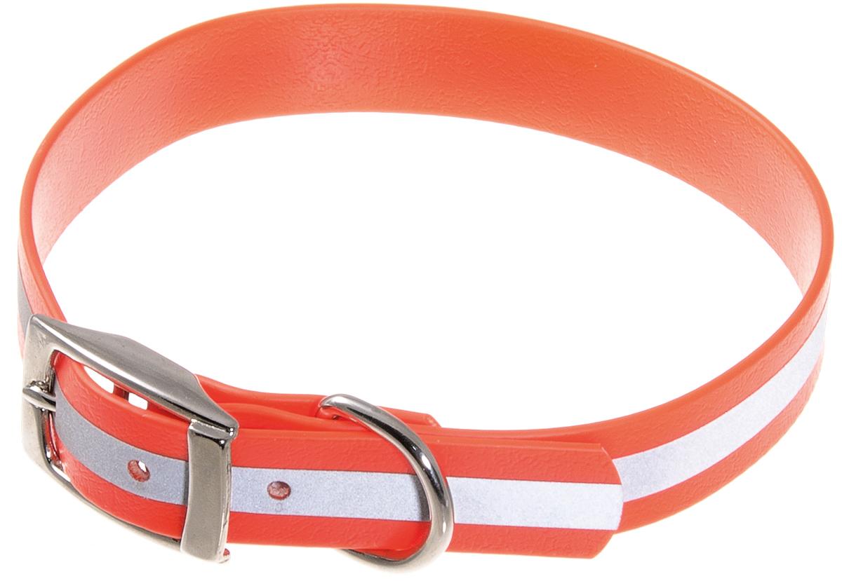 Ошейник для собак V.I.Pet, светоотражающий, цвет: оранжевый, ширина 20 мм, обхват шеи 35-43 см70-0536Биотановый ошейник V.I.Pet подходит для любой, в том числе дождливой погоды, а благодаря светоотражающей полосе делает собаку заметной в темное время суток и обеспечивает безопасность собаки на прогулке. Он не впитывает влагу, не набухает. Легко моется - его достаточно просто протереть. Устойчив к выгоранию, истиранию и изнашиванию. Особо прочный - лента выдерживает нагрузку на разрыв более 400 кг. Материал: Лента PVC, сталь.