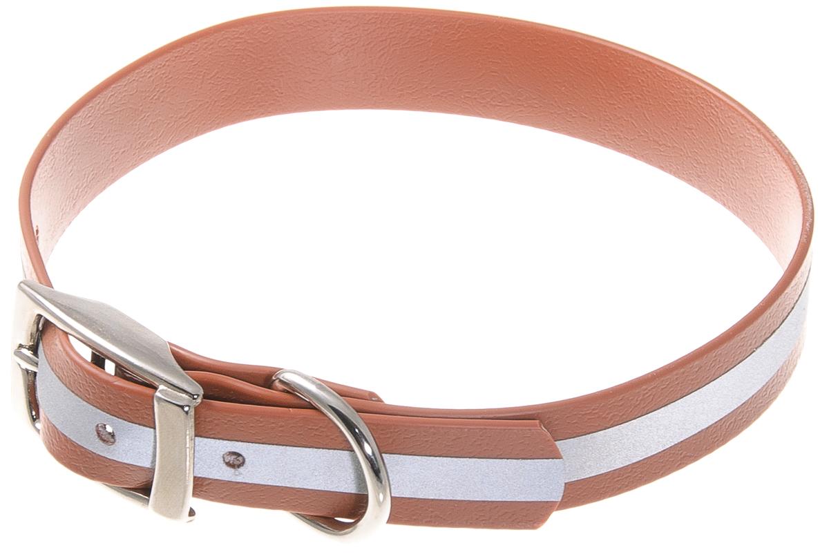 Ошейник для собак V.I.Pet, светоотражающий, цвет: коричневый, ширина 20 мм, обхват шеи 35-43 см70-0537Биотановый ошейник V.I.Pet подходит для любой, в том числе дождливой погоды, а благодаря светоотражающей полосе делает собаку заметной в темное время суток и обеспечивает безопасность собаки на прогулке. Он не впитывает влагу, не набухает. Легко моется - его достаточно просто протереть. Устойчив к выгоранию, истиранию и изнашиванию. Особо прочный - лента выдерживает нагрузку на разрыв более 400 кг. Материал: Лента PVC, сталь.