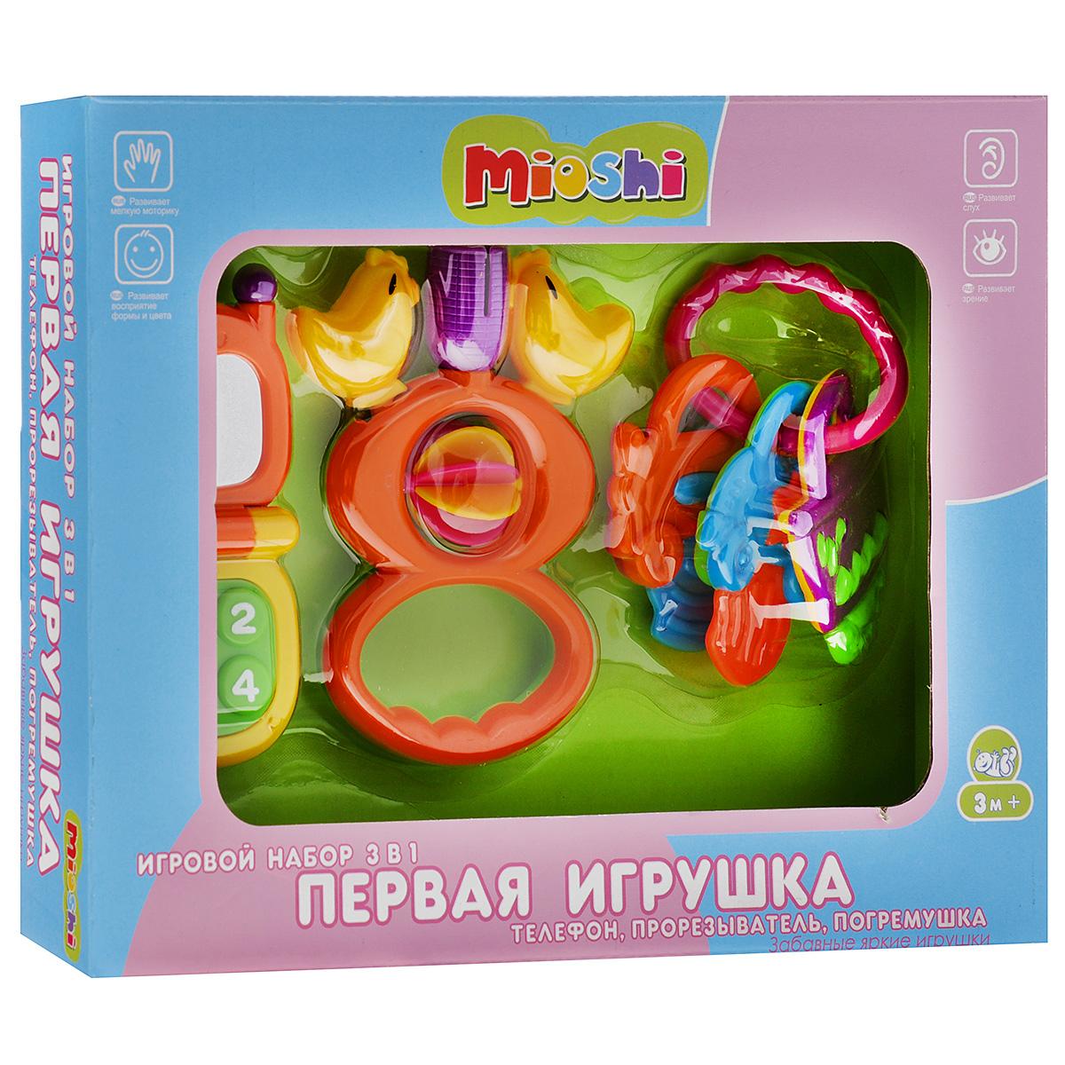 Игровой набор Mioshi Первая игрушка: телефон, прорезыватель, погремушкаTY9045Яркие, интересные, приятные на ощупь телефон и погремушка из набора Первая игрушка станут любимыми игрушками вашей крохи, а прорезыватель будет незаменим с появлением первых зубов. Игрушки из набора способствуют развитию мелкой моторики, восприятия формы и цвета предметов, а также слуха и зрения. Игрушки Mioshi созданы специально для малышей, которые только начинают познавать этот волшебный мир. Дети в раннем возрасте всегда очень любознательны, они тщательно исследуют всё, что попадает им в руки. Заботясь об здоровье и безопасности малышей, Mioshi выпускает только качественную продукцию, которая прошла сертификацию. Уважаемые клиенты! Обращаем ваше внимание на возможные изменения в дизайне некоторых деталей товара. Поставка осуществляется в зависимости от наличия на складе.