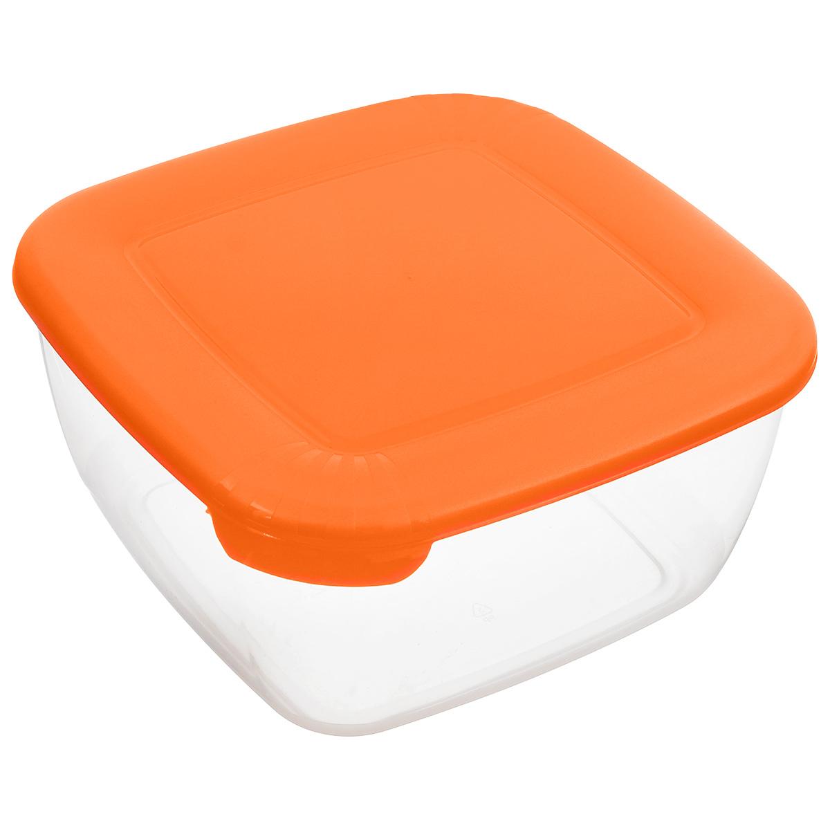 Контейнер Полимербыт Лайт, цвет: оранжевый, прозрачный, 2,5 лС544_оранжевыйКонтейнер Полимербыт Лайт квадратной формы, изготовленный из прочного пластика, предназначен специально для хранения пищевых продуктов. Крышка легко открывается и плотно закрывается. Контейнер устойчив к воздействию масел и жиров, легко моется. Прозрачные стенки позволяют видеть содержимое. Контейнер имеет возможность хранения продуктов глубокой заморозки, обладает высокой прочностью. Подходит для использования в микроволновых печах. Можно мыть в посудомоечной машине.
