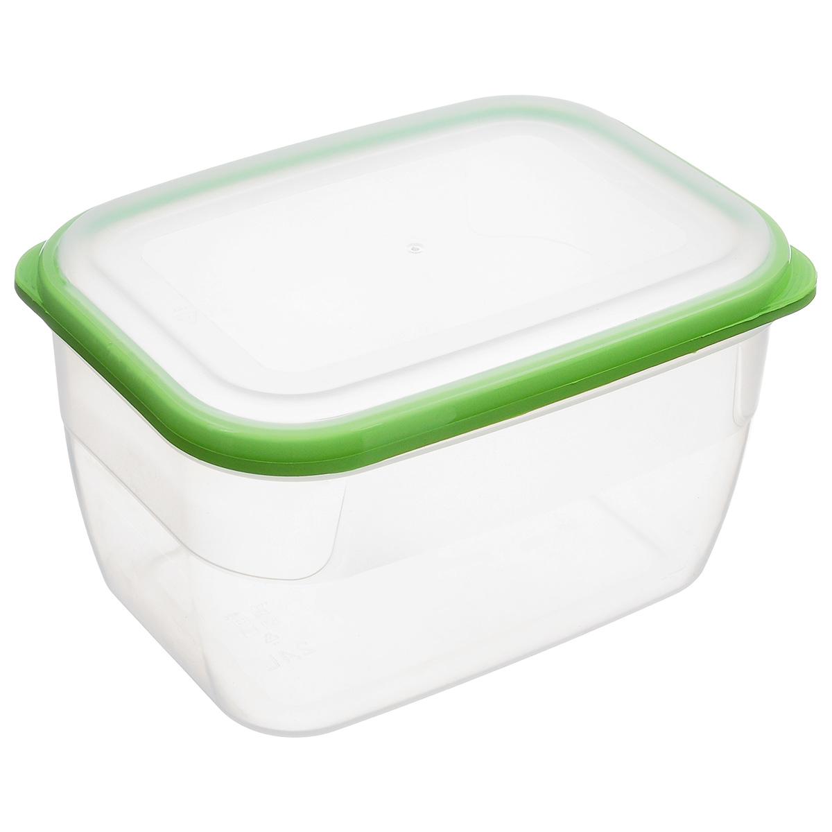 Контейнер Полимербыт Премиум, цвет: прозрачный, салатовый, 2,4 лС563_салатовый, прозрачныйКонтейнер Полимербыт Премиум прямоугольной формы, изготовленный из прочного пластика, предназначен специально для хранения пищевых продуктов. Крышка легко открывается и плотно закрывается. Контейнер устойчив к воздействию масел и жиров, легко моется. Прозрачные стенки позволяют видеть содержимое. Контейнер имеет возможность хранения продуктов глубокой заморозки, обладает высокой прочностью. Можно мыть в посудомоечной машине. Подходит для использования в микроволновых печах.