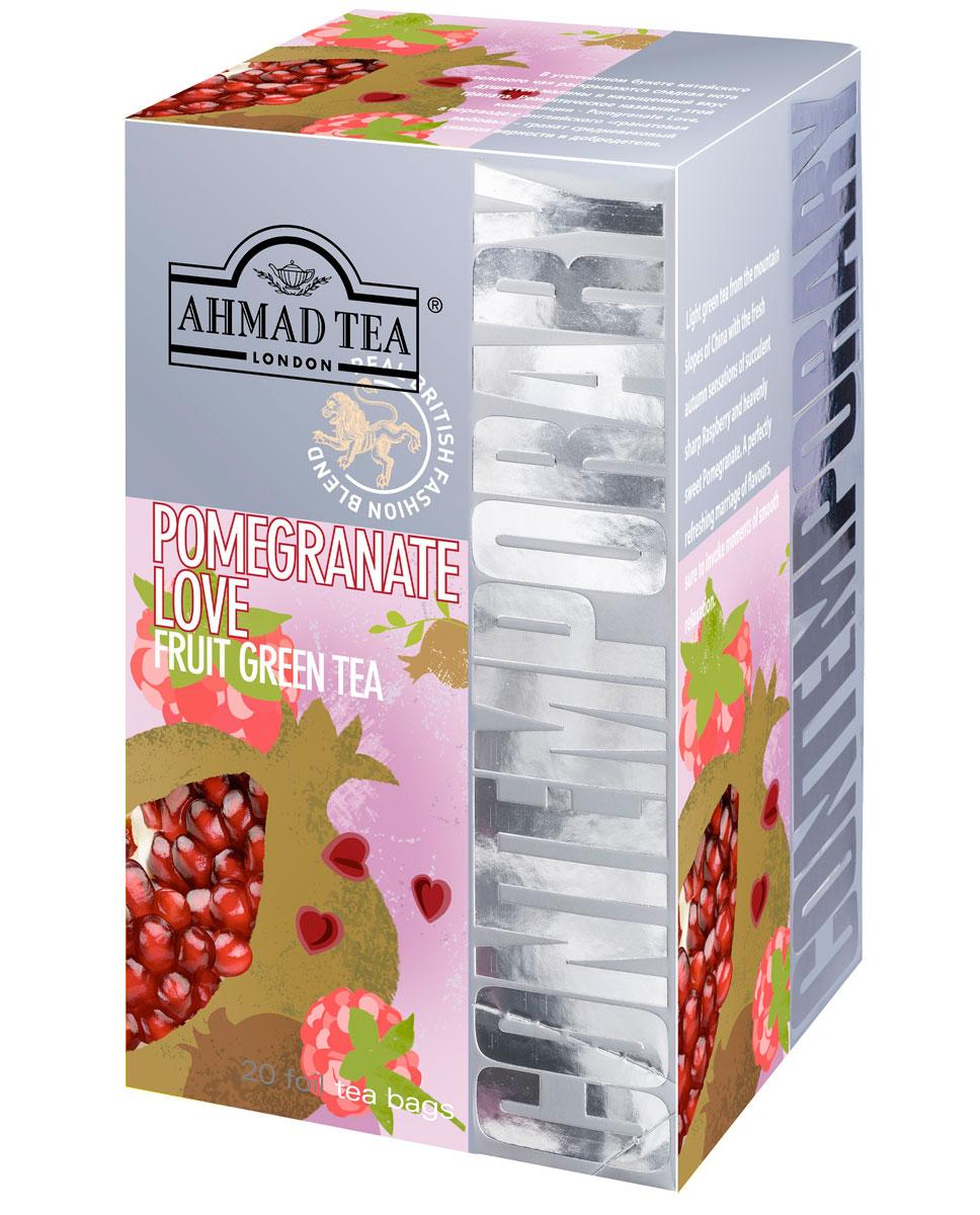 Ahmad Tea Pomgranat Love зеленый чай в фольгированных пакетиках, 20 шт1273В утонченном букете китайского зеленого чая раскрываются сладкая нота душистой малины и насыщенный вкус граната. Романтическое название этой композиции - Pomegranate Love, в переводе с английского гранатовая любовь - гранат средневековый символ верности и добродетели.