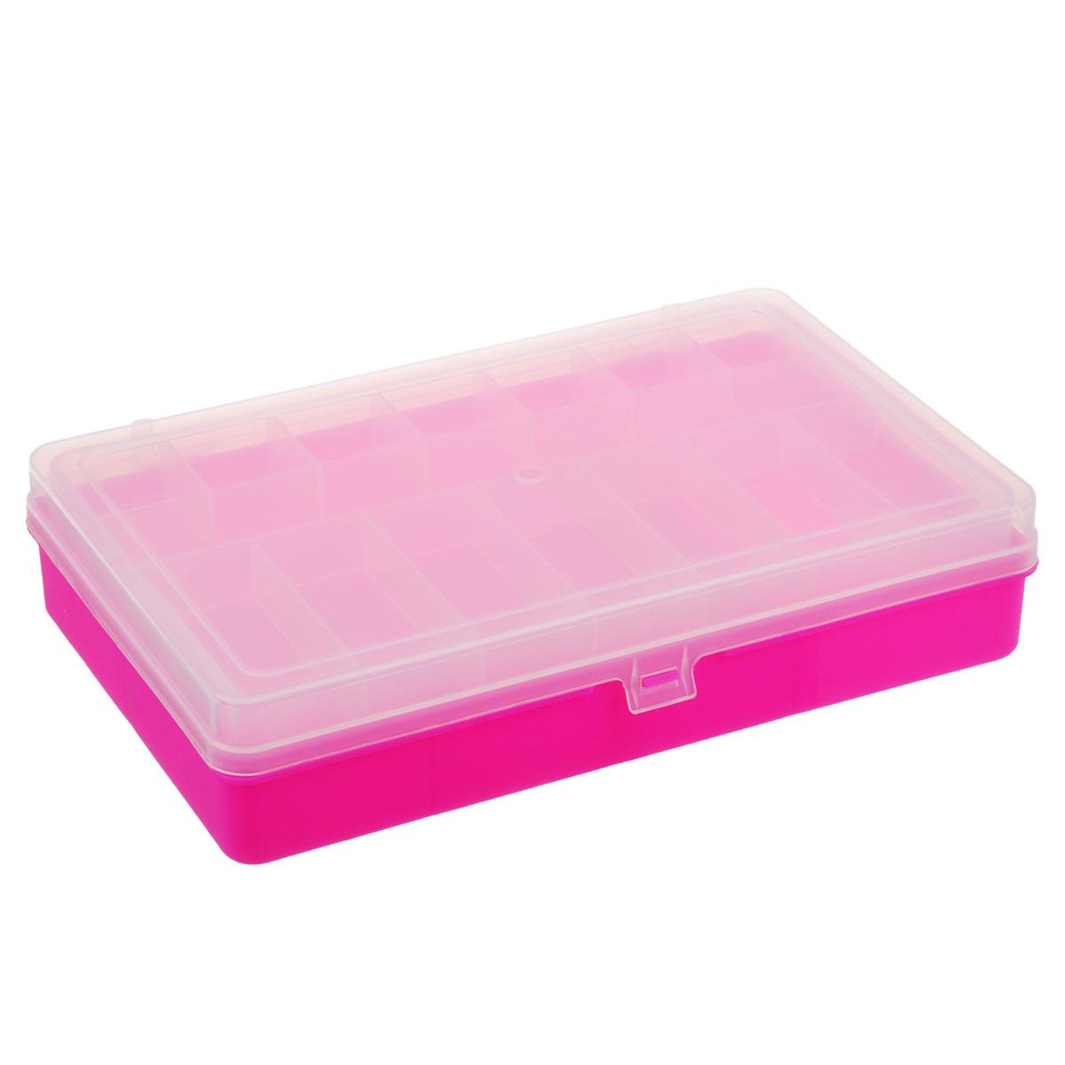Коробка для мелочей Trivol, двухъярусная, цвет: розовый, 23,5 х 15 х 5 см525824_розовыйДвухъярусная коробка для мелочей Trivol изготовлена из высококачественного пластика. Прозрачная крышка позволяет видеть содержимое коробки. Изделие имеет два яруса. Верхний ярус представляет собой съемное отделение, в котором содержится 15 прямоугольных ячеек. Нижний ярус имеет 7 ячеек разного размера. Коробка прекрасно подойдет для хранения швейных принадлежностей, рыболовных снастей, мелких деталей и других бытовых мелочей. Удобный и надежный замок-защелка обеспечивает надежное закрывание крышки. Коробка легко моется и чистится. Такая коробка поможет держать вещи в порядке. Размер самой маленькой ячейки: 3,5 см х 3 см х 1,7 см. Размер самой большой ячейки: 7,5 см х 11 см х 3,5 см.