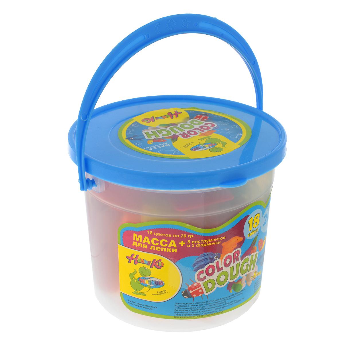 Масса для лепки Centrum Hobby Kit: Color dough, с формочками и роликом для раскатки, цвет: голубой, 18 цветов83662_голубойКрасочная цветная масса для лепки Centrum Hobby Kit: Color dough приведет в восторг вашего малыша. Масса обладает удивительной пластичностью, не пачкается и не липнет к рукам и рабочей поверхности. Набор включает тесто 18 насыщенных цветов: черного, фиолетового, красного, зеленого, темно-зеленого, желтого, белого, синего, оранжевого, морковного, розового, светло-голубого, светло-розового, светло-оранжевого, светло-фиолетового, светло-коричневого, ярко-желтого и персикового. Цвета отлично смешиваются между собой, образуя новые оттенки. В комплект входят три формы, четыре инструмента и раскаточный ролик. Лепка из массы Centrum Hobby Kit: Color dough  помогает малышам развить мелкую моторику рук, творческое мышление, фантазию и воображение, а также способствует самовыражению. Объем теста для лепки 1 цвета - 20 г.