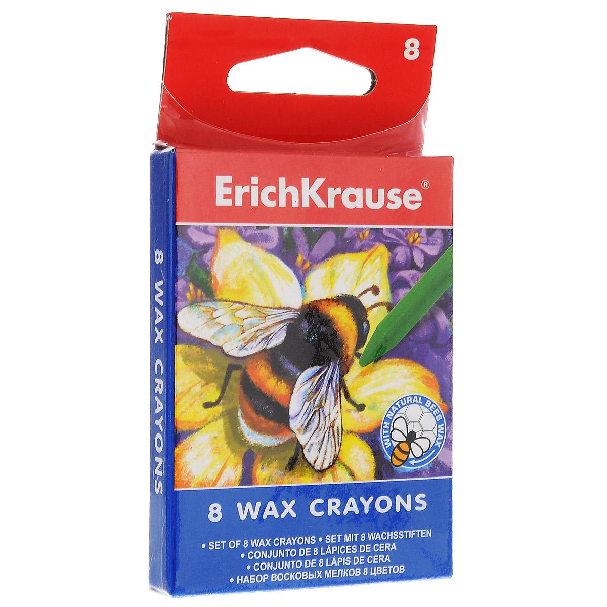 Мелки восковые Erich Krause, 8 цветов