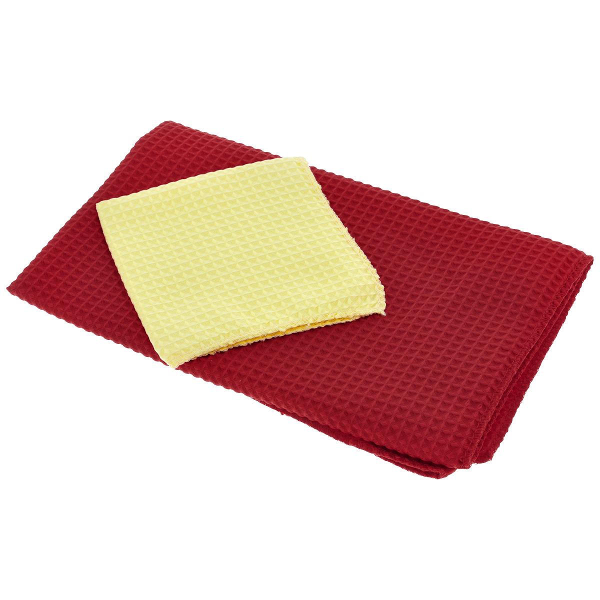 Салфетки универсальные Eva, цвет: красный, желтый, 2 штЕ46Универсальные салфетки Eva, изготовленные из полиэстера и полиамида (полимикрофибры), обладают идеальными для ежедневной уборки свойствами. Они прекрасно подходят как для влажной, так и для сухой уборки. Не оставляют ворсинок и разводов, прекрасно впитывают воду, хорошо стираются и сохраняют свои свойства после многократного использования. Идеально подходят для любых поверхностей. Полимикрофибра - уникальный по свойствам материал, сочетающий в себе удивительную мягкость, прочность и влагоемкость. Не случайно эта ткань завоевала любовь домохозяек во всем мире. Салфеткой из полимикрофибры можно легко и быстро очистить любую поверхность без лишних усилий. В комплекте - 2 салфетки разного размера. Размер салфеток: 23 см х 23 см; 60 см х 48 см.