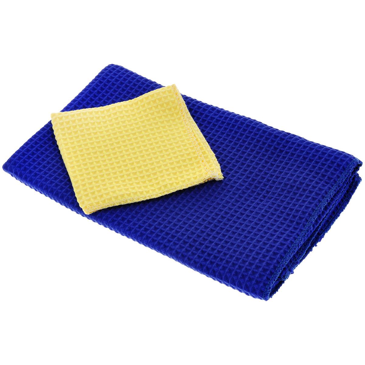 Салфетки универсальные Eva, цвет: синий, желтый, 2 штЕ46Универсальные салфетки Eva, изготовленные из полиэстера и полиамида (полимикрофибры), обладают идеальными для ежедневной уборки свойствами. Они прекрасно подходят, как для влажной, так и для сухой уборки. Не оставляют ворсинок и разводов, прекрасно впитывают воду, хорошо стираются и сохраняют свои свойства после многократного использования. Идеально подходят для любых поверхностей. Полимикрофибра - уникальный по свойствам материал, сочетающий в себе удивительную мягкость, прочность и влагоемкость. Не случайно эта ткань завоевала любовь домохозяек во всем мире. Салфеткой из полимикрофибры можно легко и быстро очистить любую поверхность без лишних усилий. В комплекте - 2 салфетки разного размера. Размер салфеток: 23 см х 23 см; 60 см х 48 см.