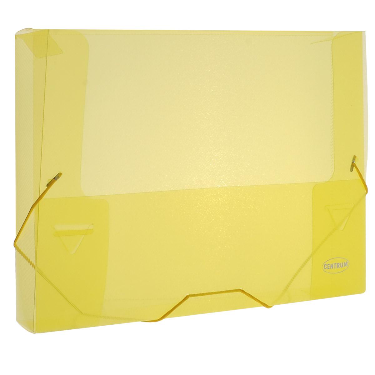 Папка на резинке Centrum, цвет: желтый, формат А4. 8002080020_желтыйПапка на резинке Centrum станет вашим верным помощником дома и в офисе. Это удобный и функциональный инструмент, предназначенный для хранения и транспортировки больших объемов рабочих бумаг и документов формата А4. Папка изготовлена из износостойкого высококачественного пластика. Состоит из одного вместительного отделения. Грани папки закруглены для дополнительной прочности и сохранности опрятного вида папки. Папка - это незаменимый атрибут для любого студента, школьника или офисного работника. Такая папка надежно сохранит ваши бумаги и сбережет их от повреждений, пыли и влаги.