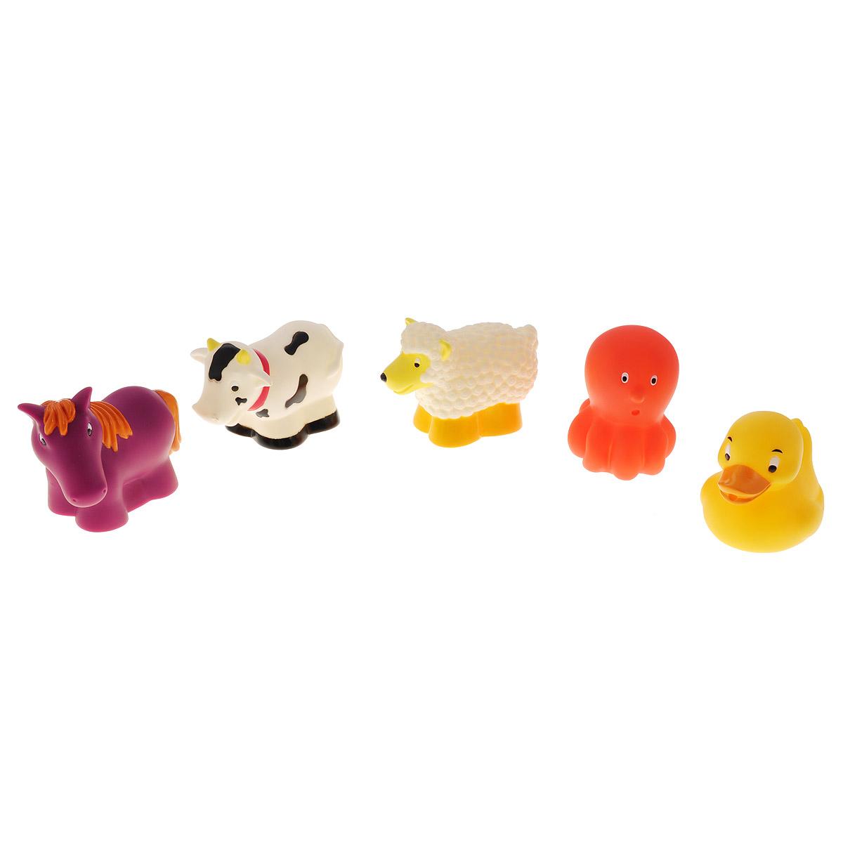 Набор игрушек для ванны Battat Животные на ферме68006Набор игрушек для ванны Battat Животные на ферме превратит купание в веселую игру! Набор включает в себя фигурки коровки, овечки, лошадки, утенка и осьминога. Если сначала набрать воду в игрушки, а потом нажать на них, то изо рта брызнет тонкая струя воды, что, несомненно, развеселит вашего малыша. Игрушки выполнены из яркого мягкого материала, безопасного для ребенка. Игрушки помогут ребенку развить мелкую моторику рук, тактильные ощущения, цветовое восприятие, а милые жизнерадостные образы подарят малышу хорошее настроение.